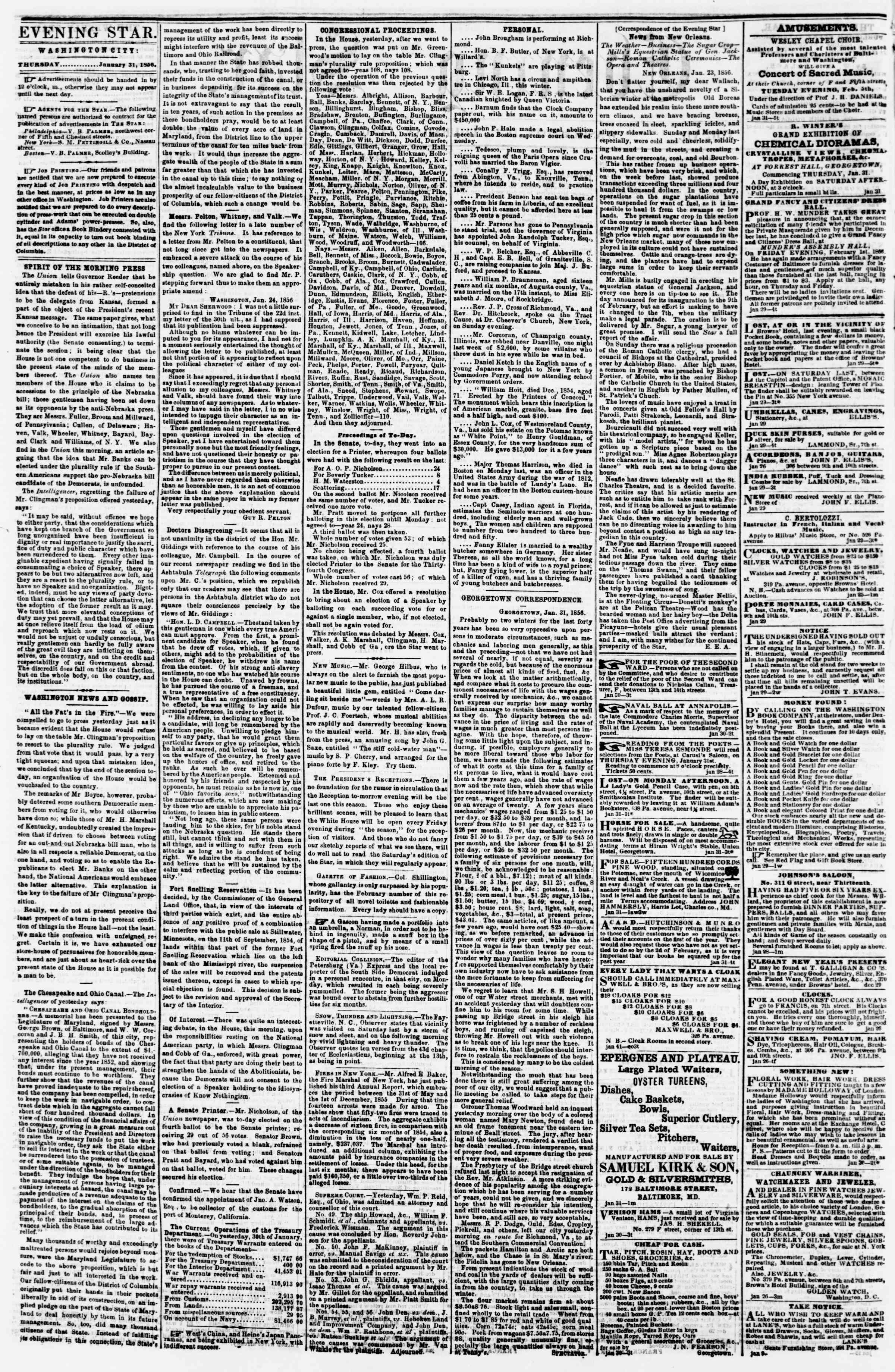 Newspaper of Evening Star dated January 31, 1856 Page 2