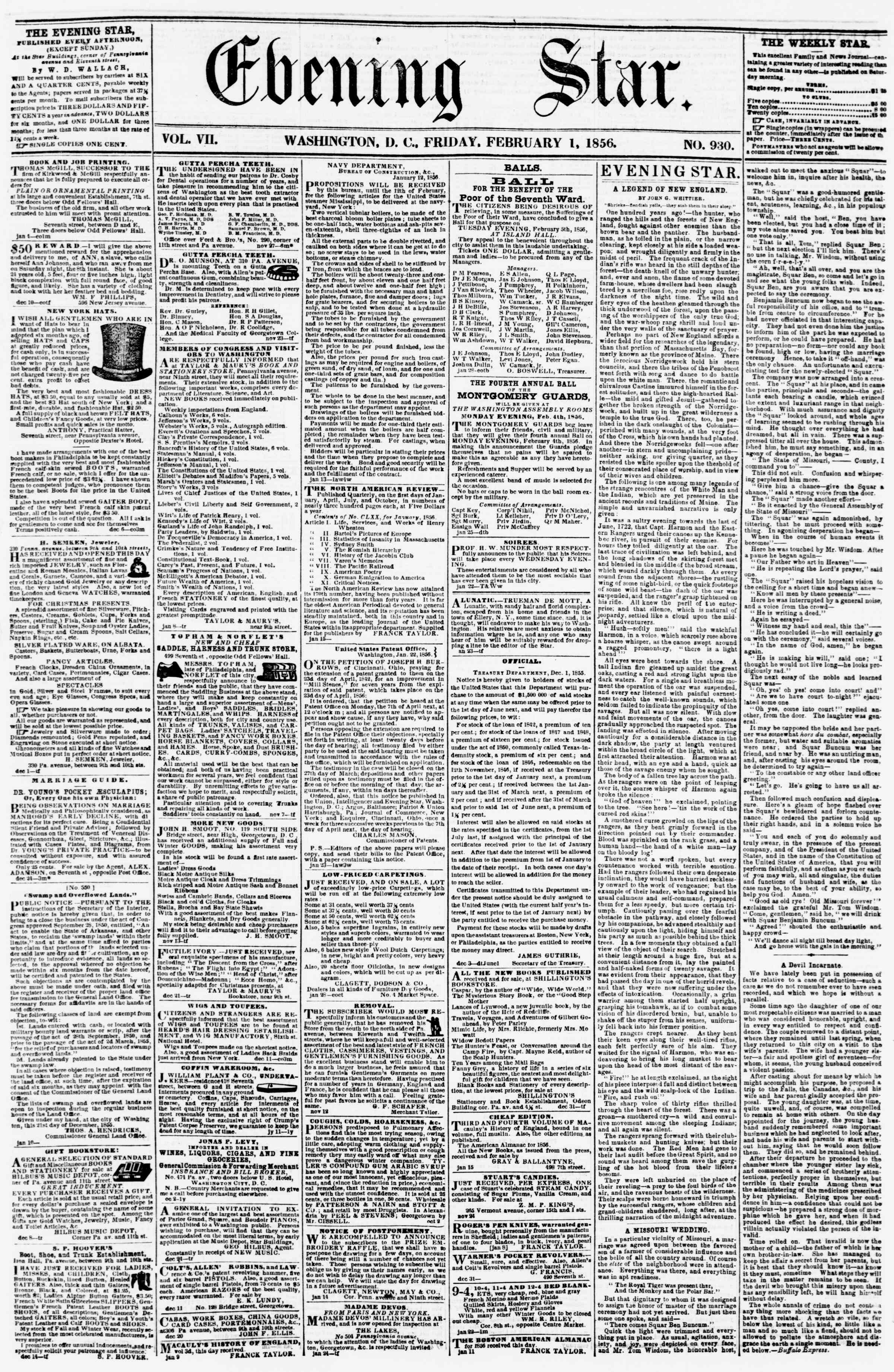Newspaper of Evening Star dated February 1, 1856 Page 1