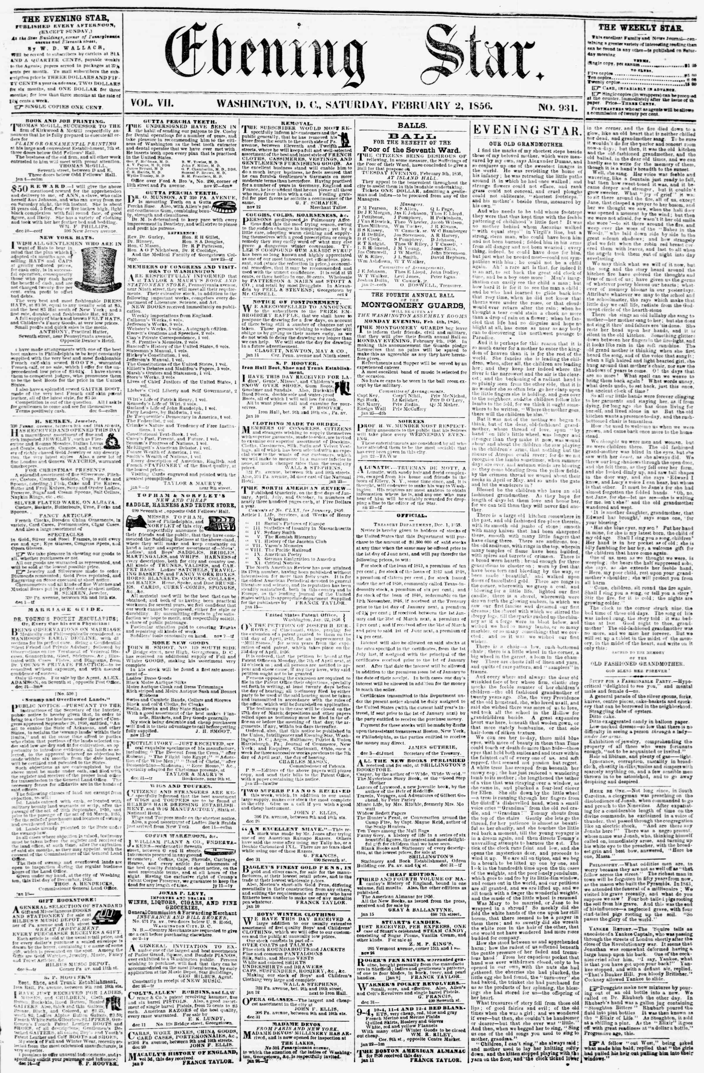 Newspaper of Evening Star dated February 2, 1856 Page 1