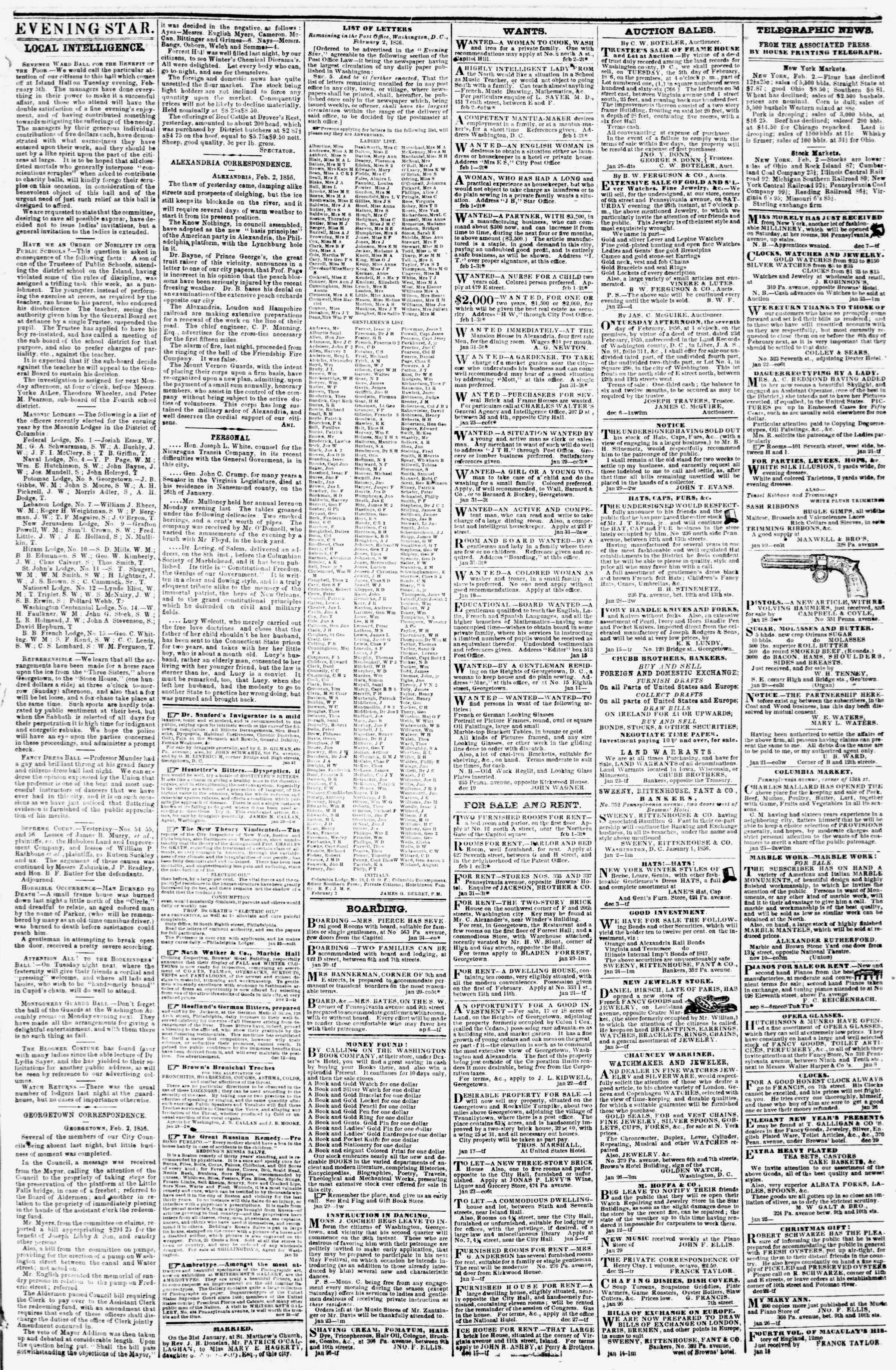 Newspaper of Evening Star dated February 2, 1856 Page 3