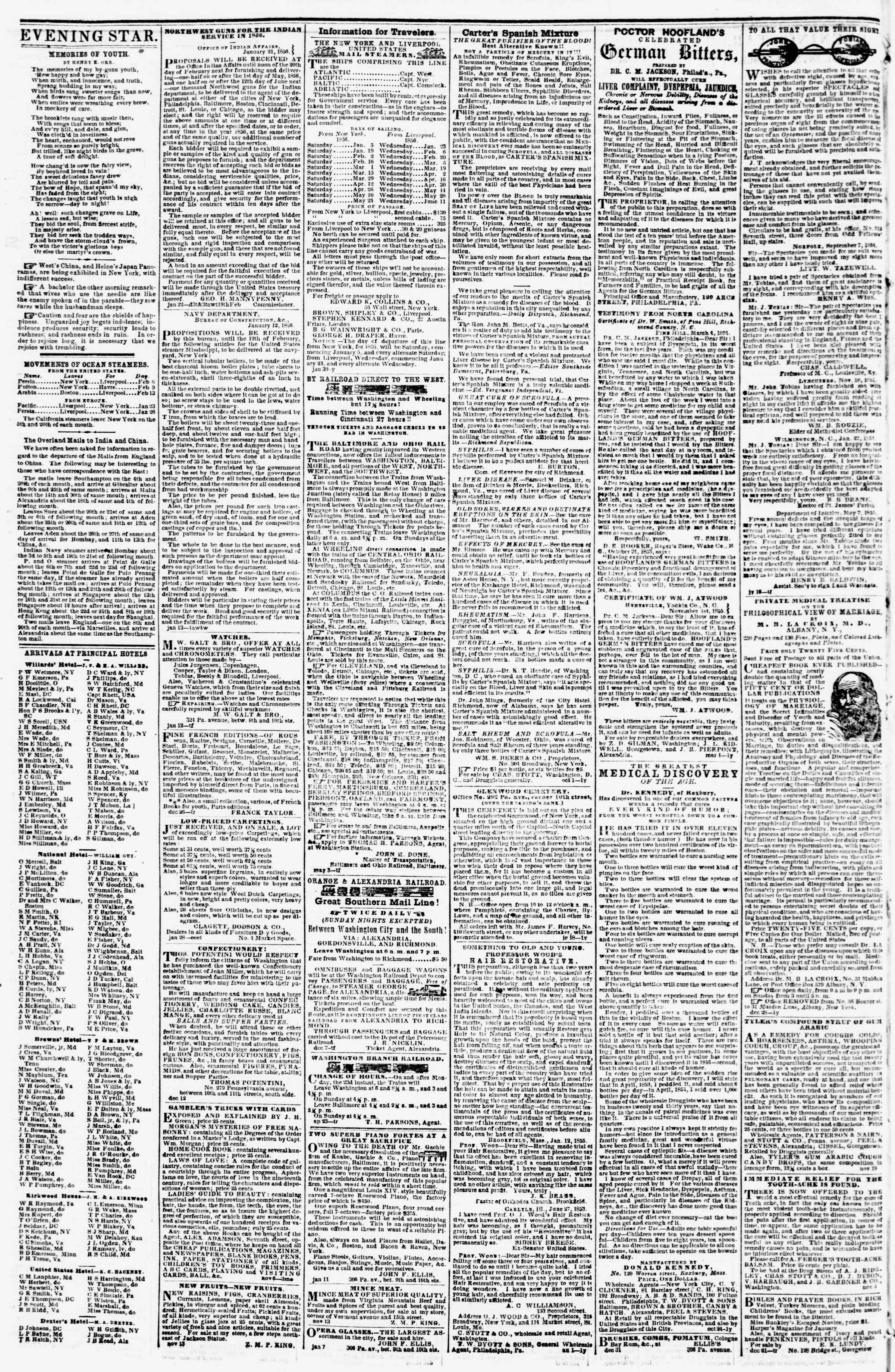 Newspaper of Evening Star dated February 2, 1856 Page 4