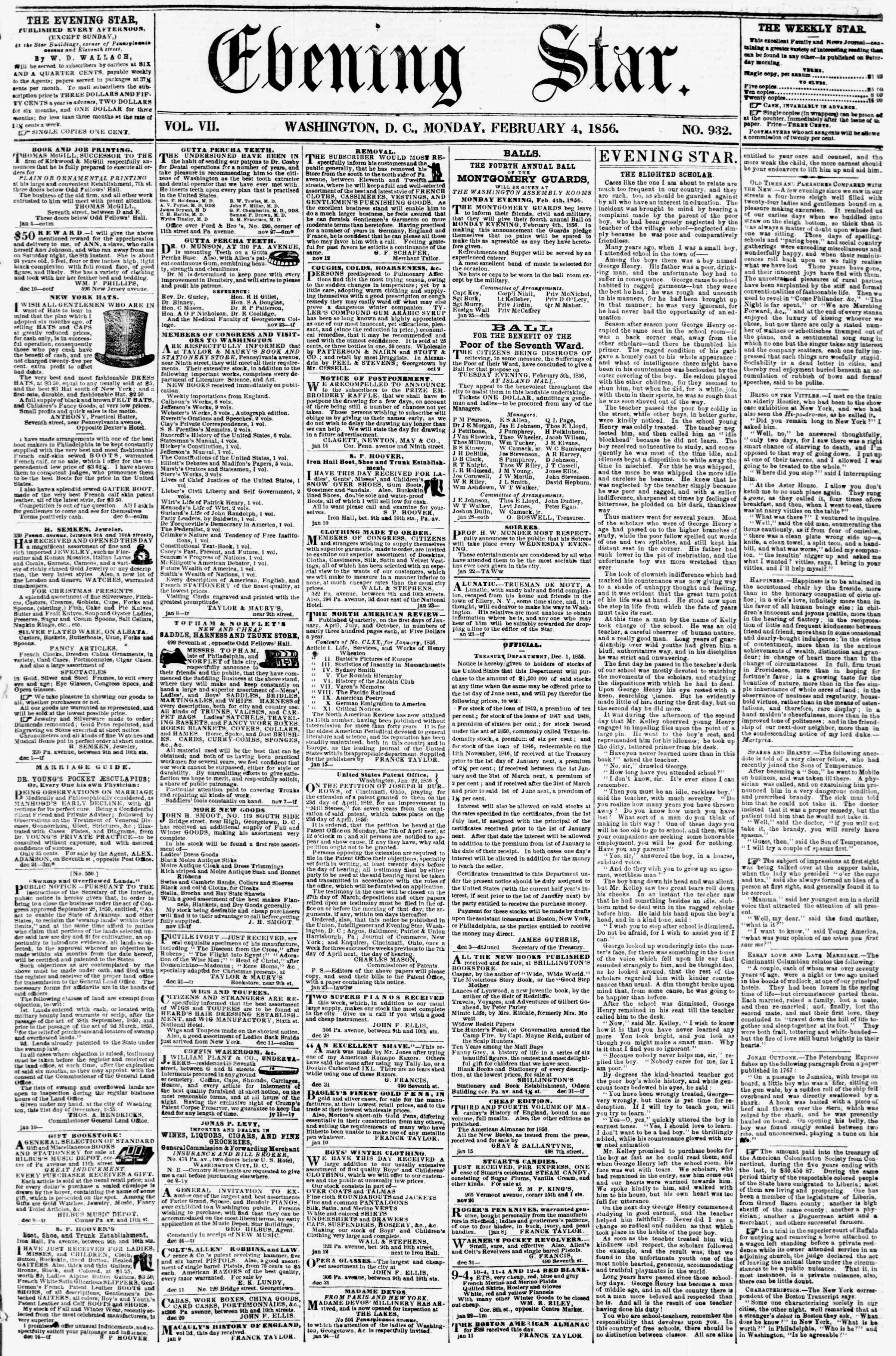 Newspaper of Evening Star dated February 4, 1856 Page 1