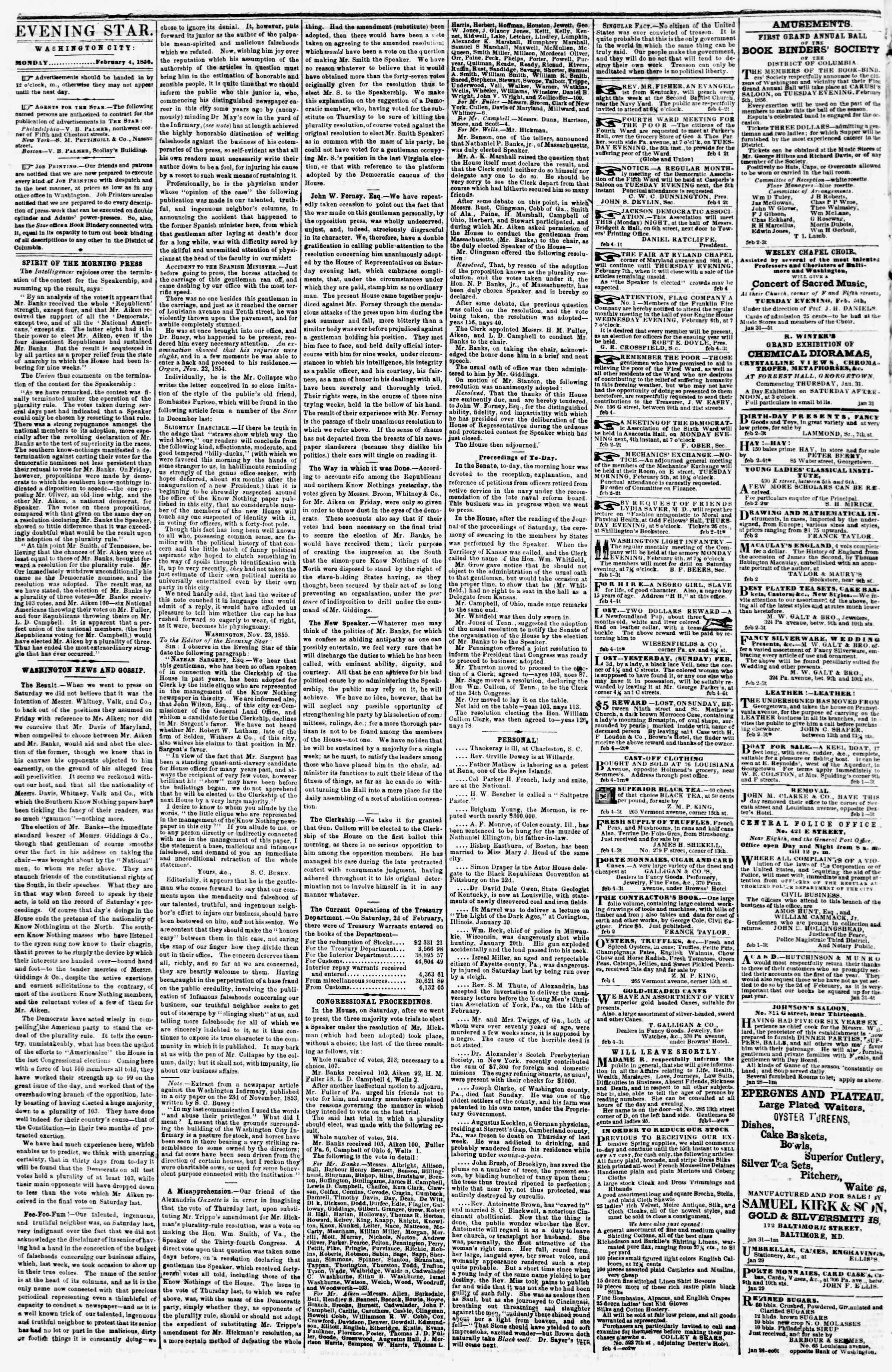 Newspaper of Evening Star dated February 4, 1856 Page 2