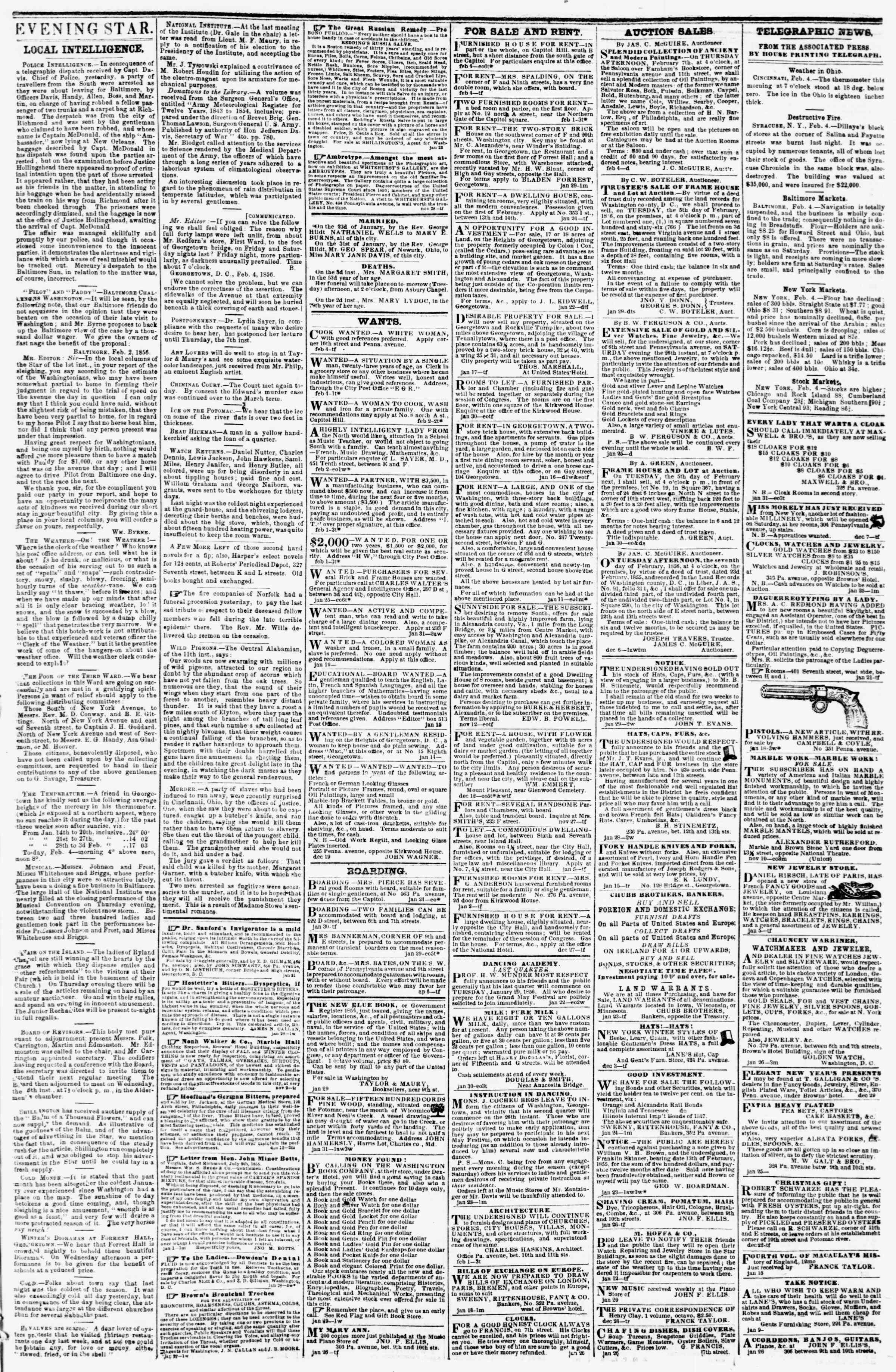 Newspaper of Evening Star dated February 4, 1856 Page 3