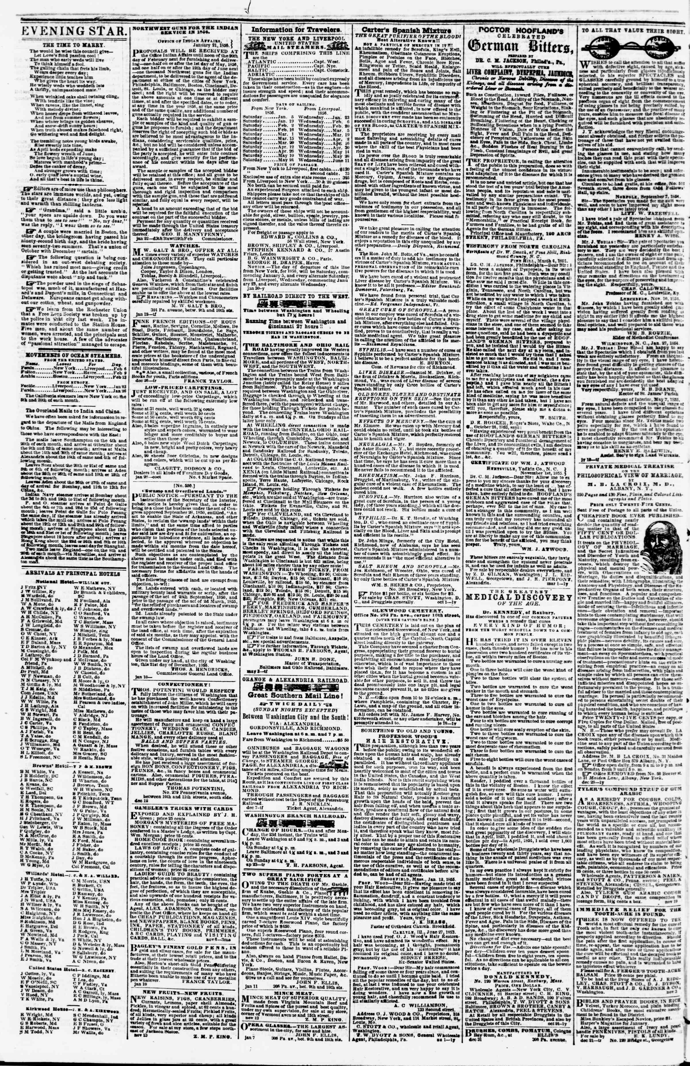 Newspaper of Evening Star dated February 7, 1856 Page 4