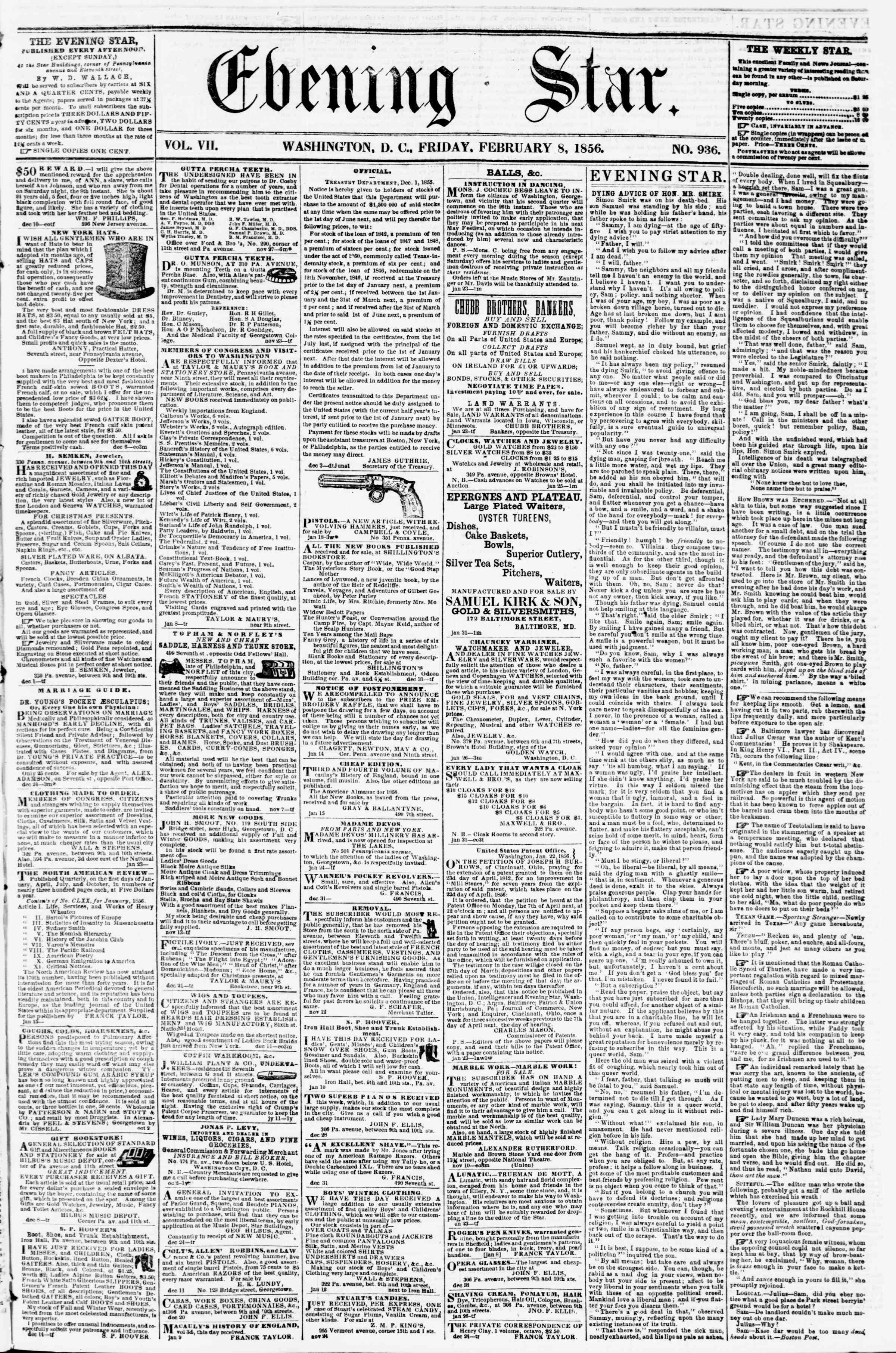 Newspaper of Evening Star dated February 8, 1856 Page 1