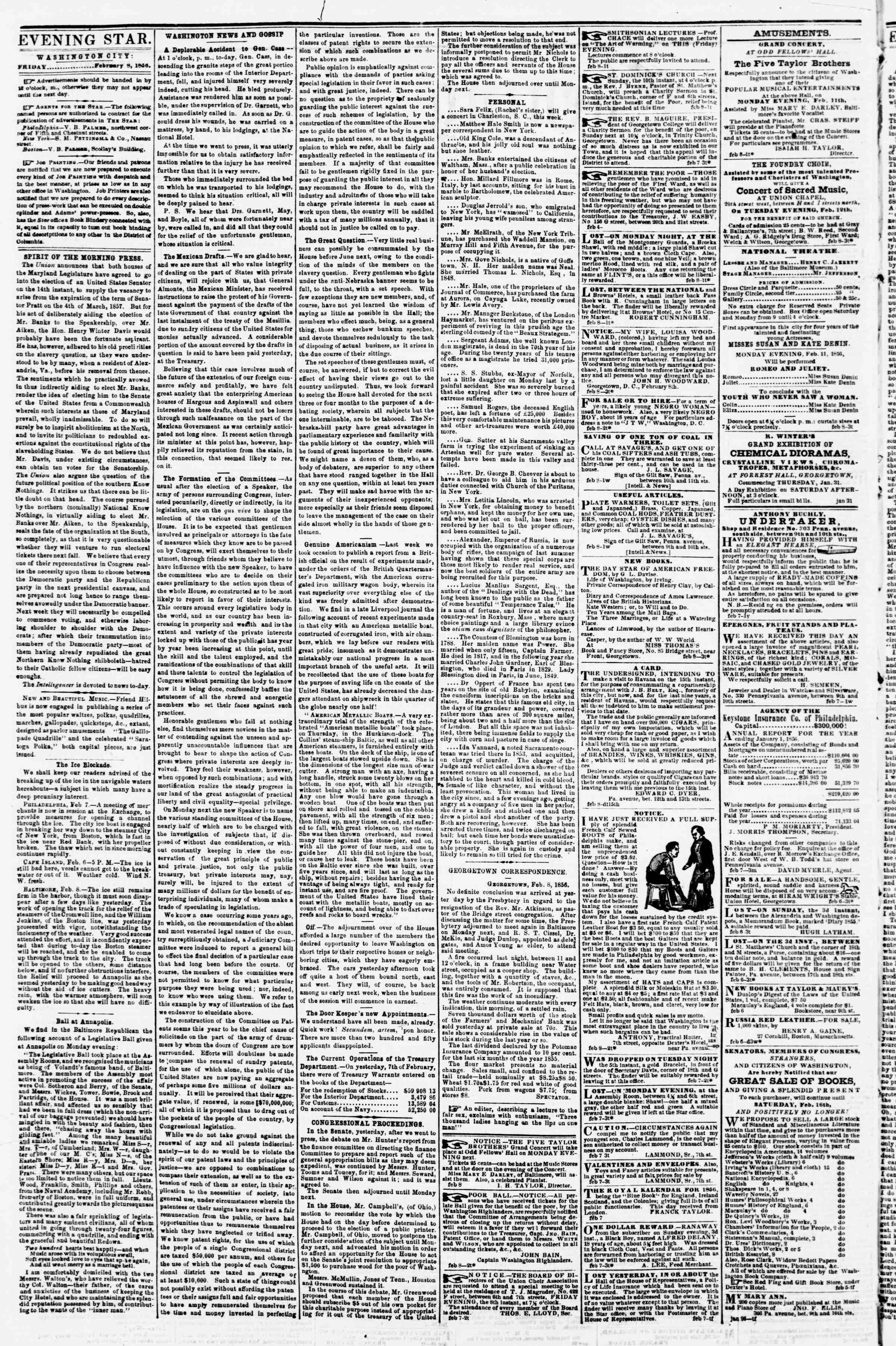 Newspaper of Evening Star dated 8 Şubat 1856 Page 2