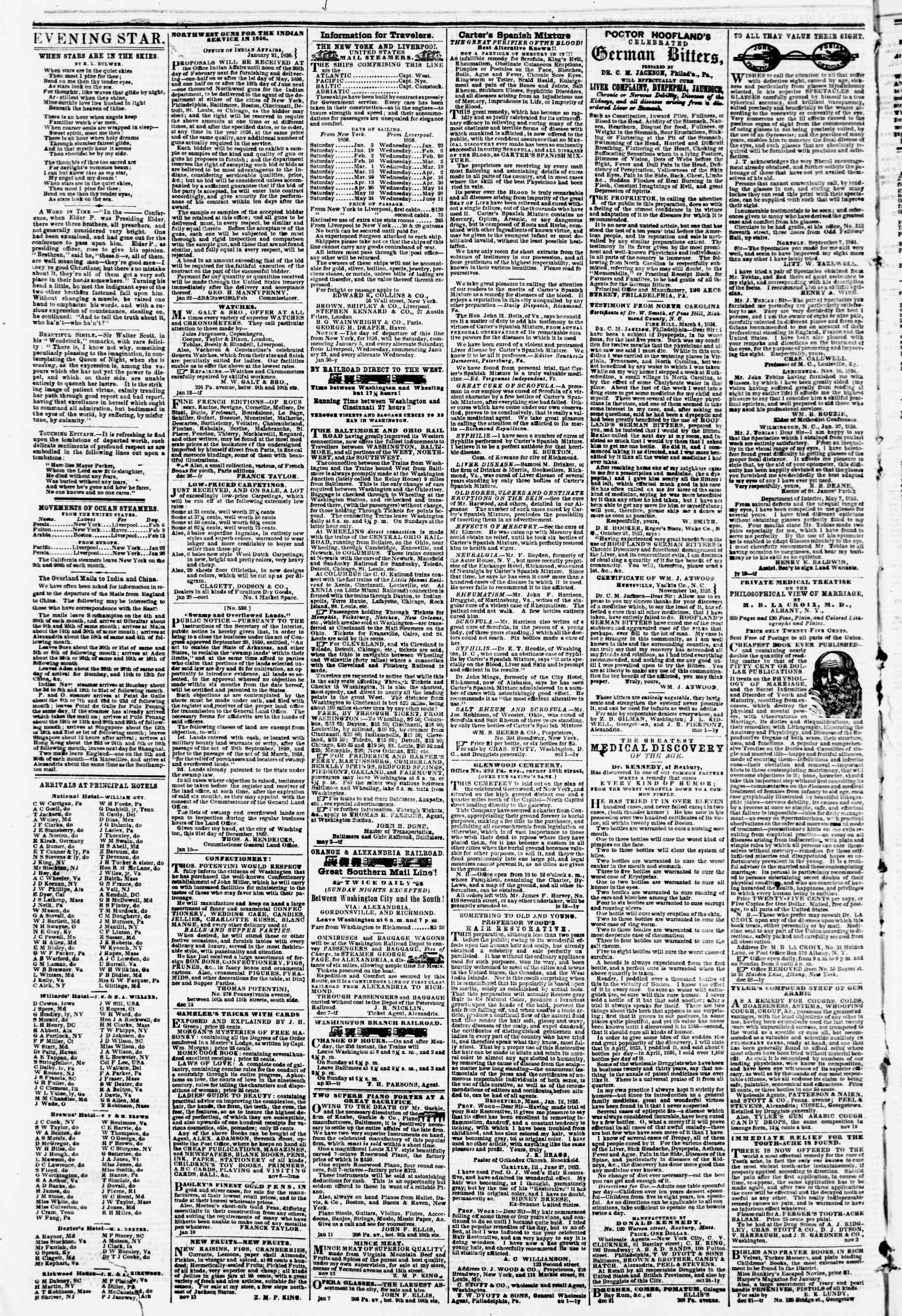 Newspaper of Evening Star dated February 8, 1856 Page 4