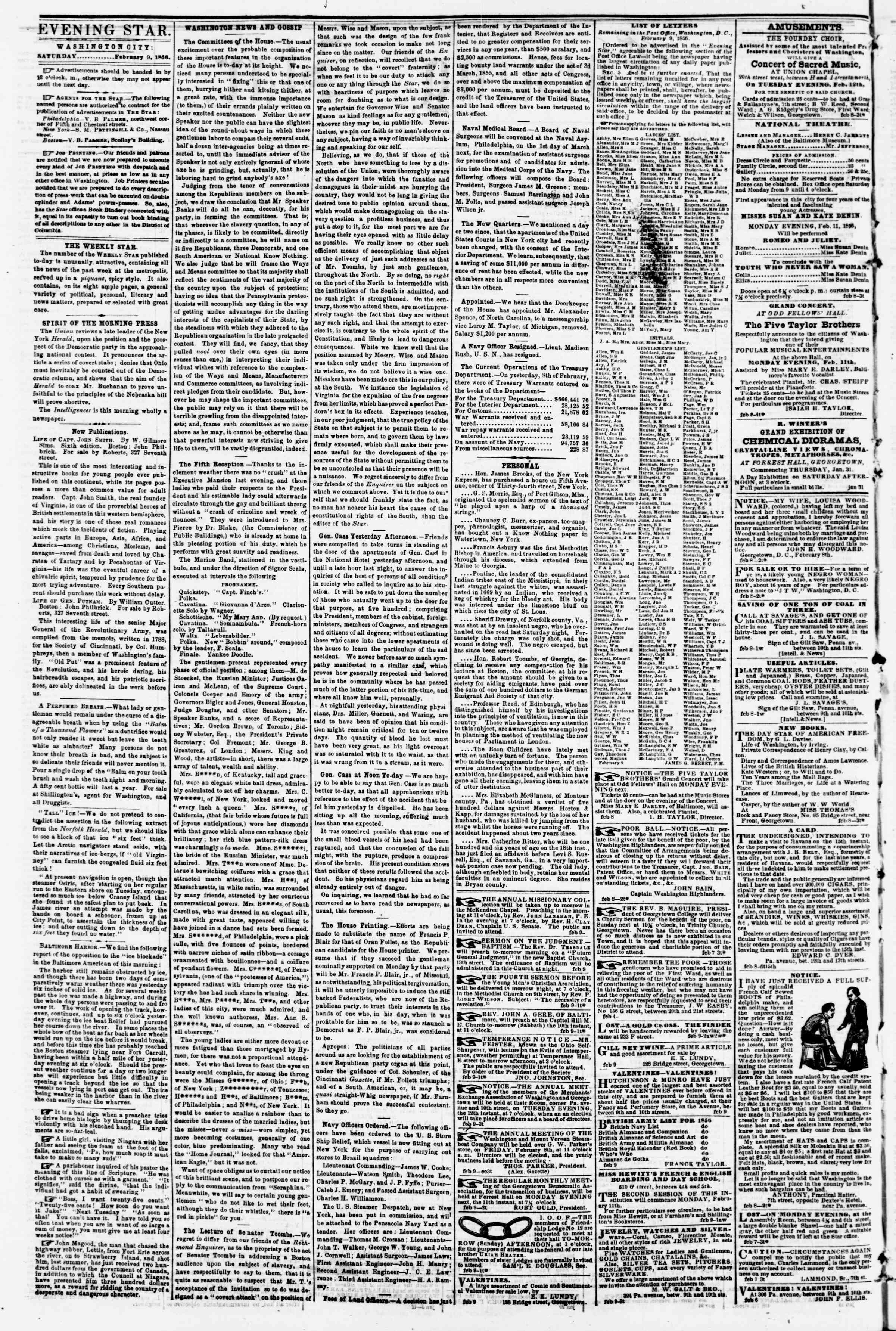 Newspaper of Evening Star dated February 9, 1856 Page 2