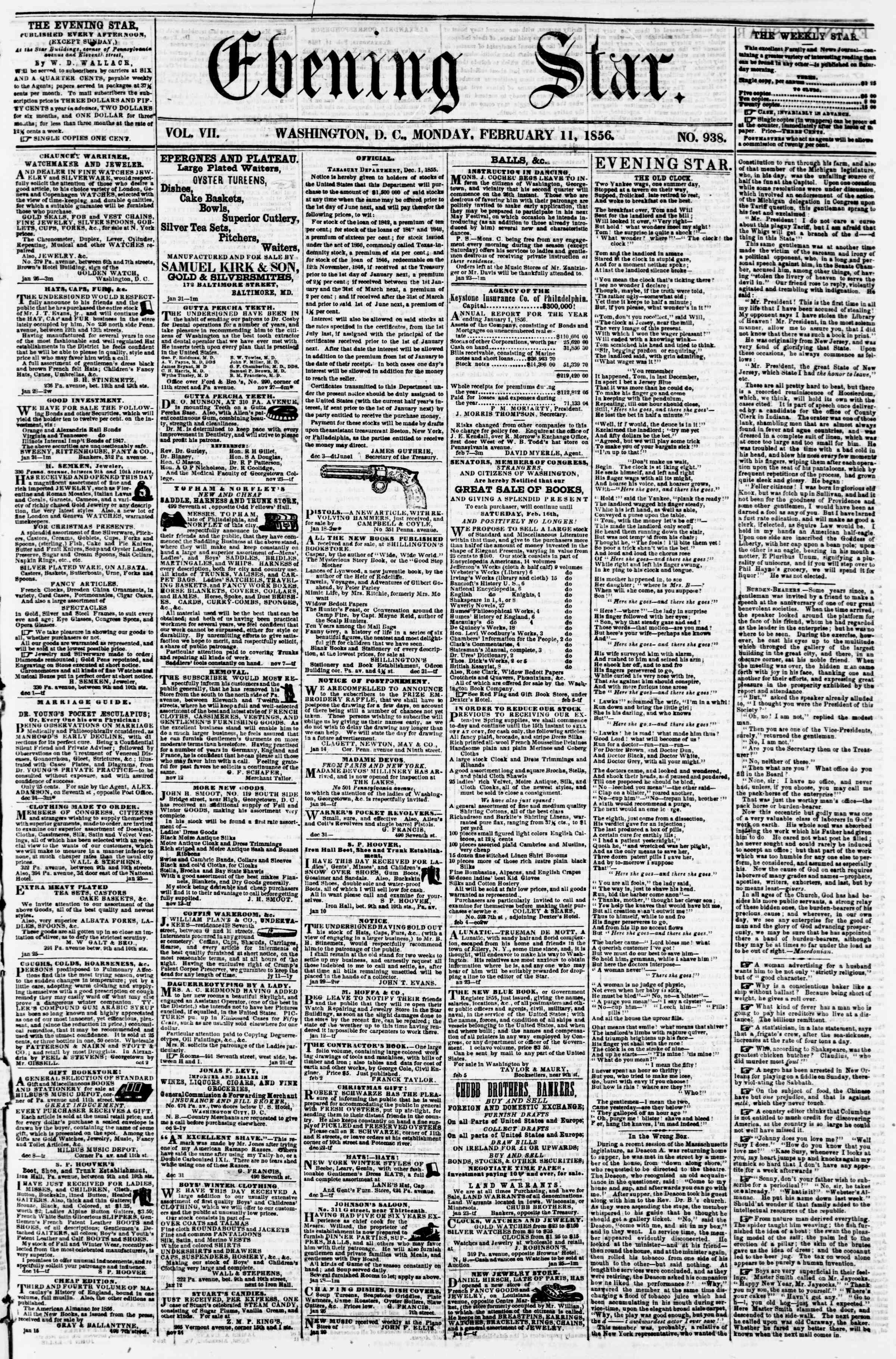 Newspaper of Evening Star dated February 11, 1856 Page 1