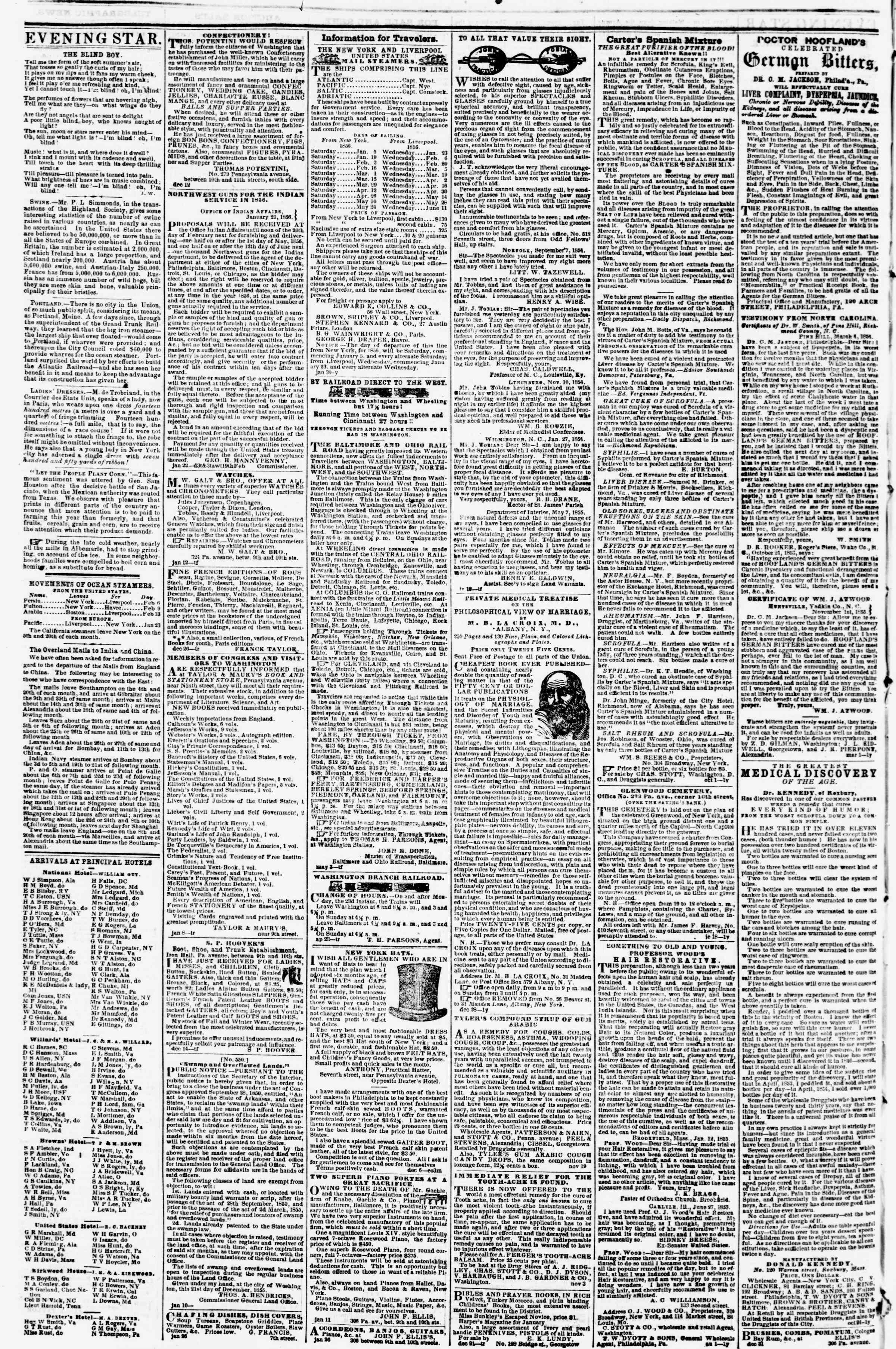 Newspaper of Evening Star dated February 13, 1856 Page 4