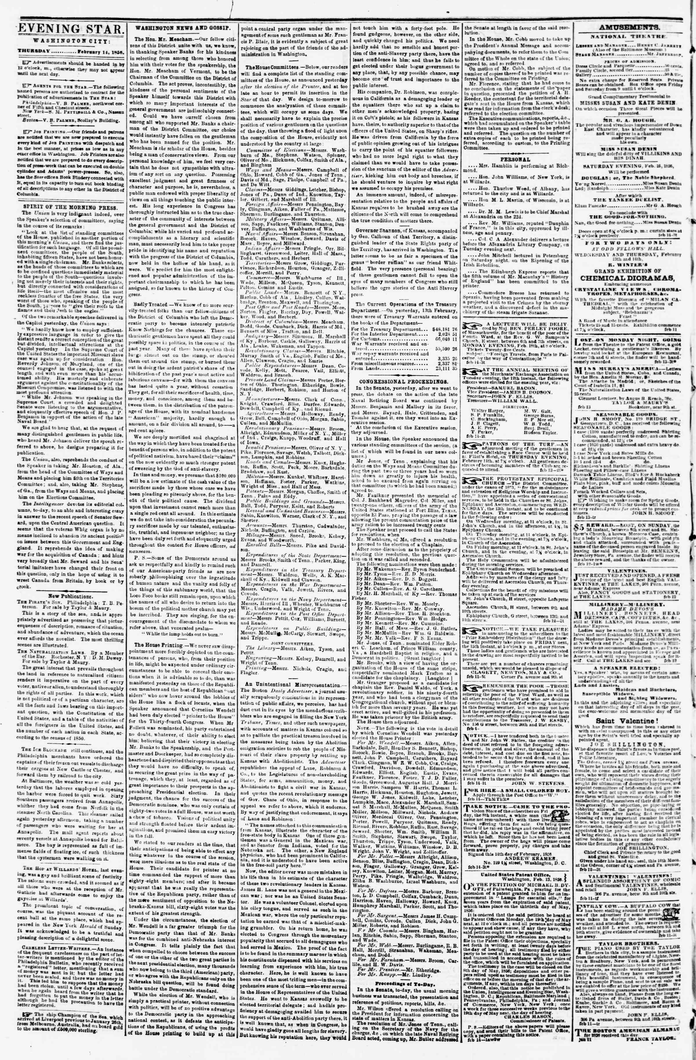 Newspaper of Evening Star dated February 14, 1856 Page 2