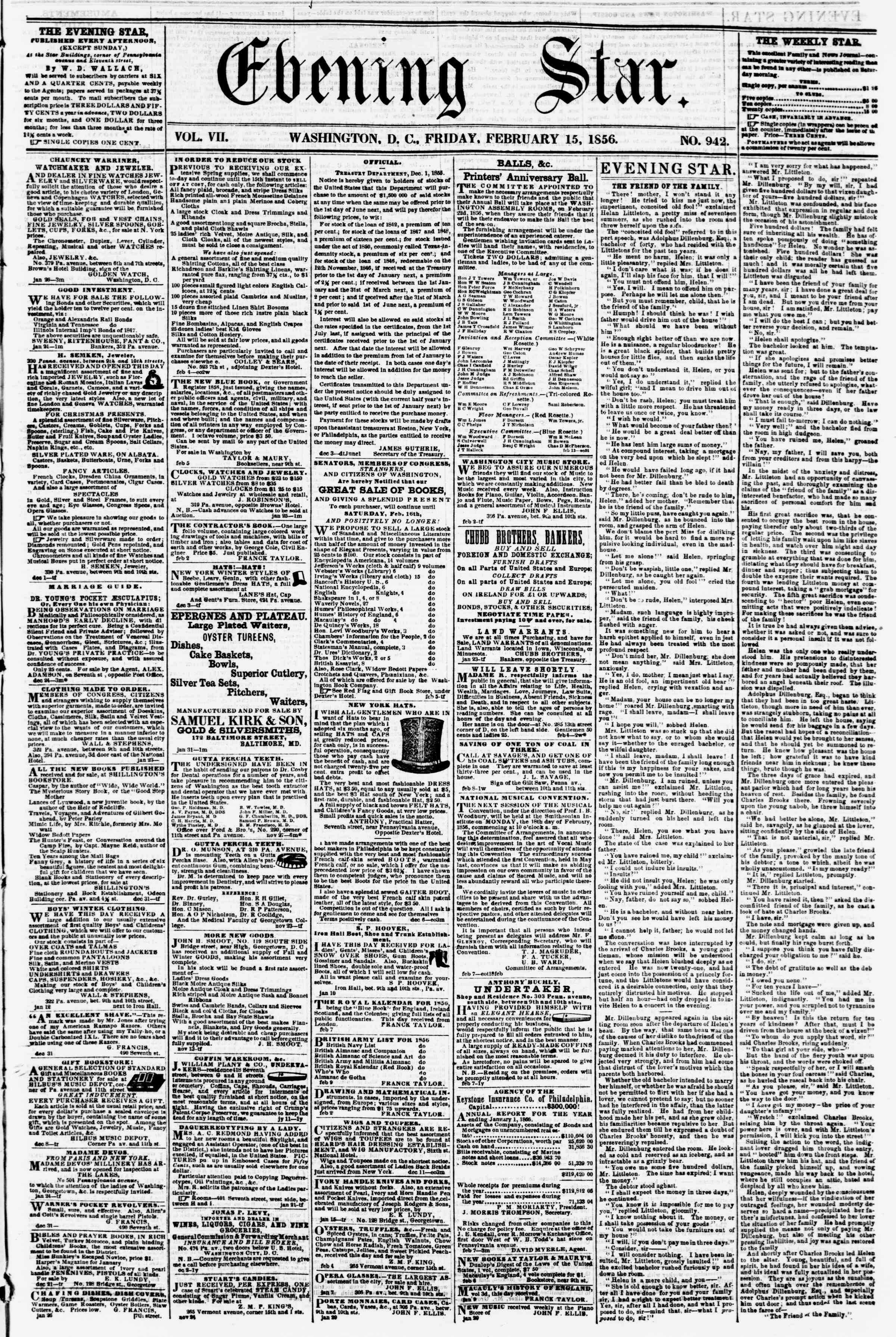 Newspaper of Evening Star dated February 15, 1856 Page 1