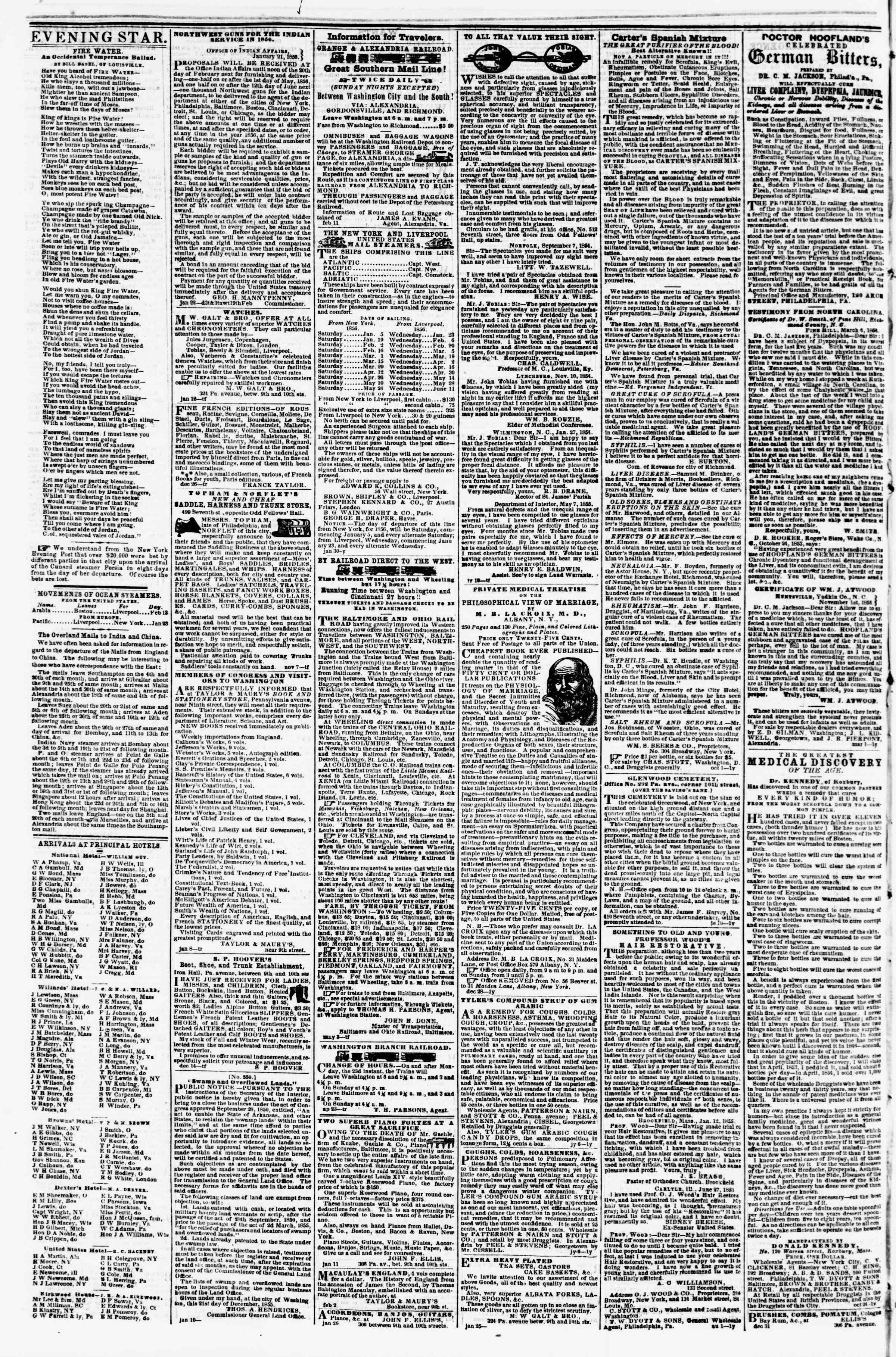 Newspaper of Evening Star dated February 15, 1856 Page 4