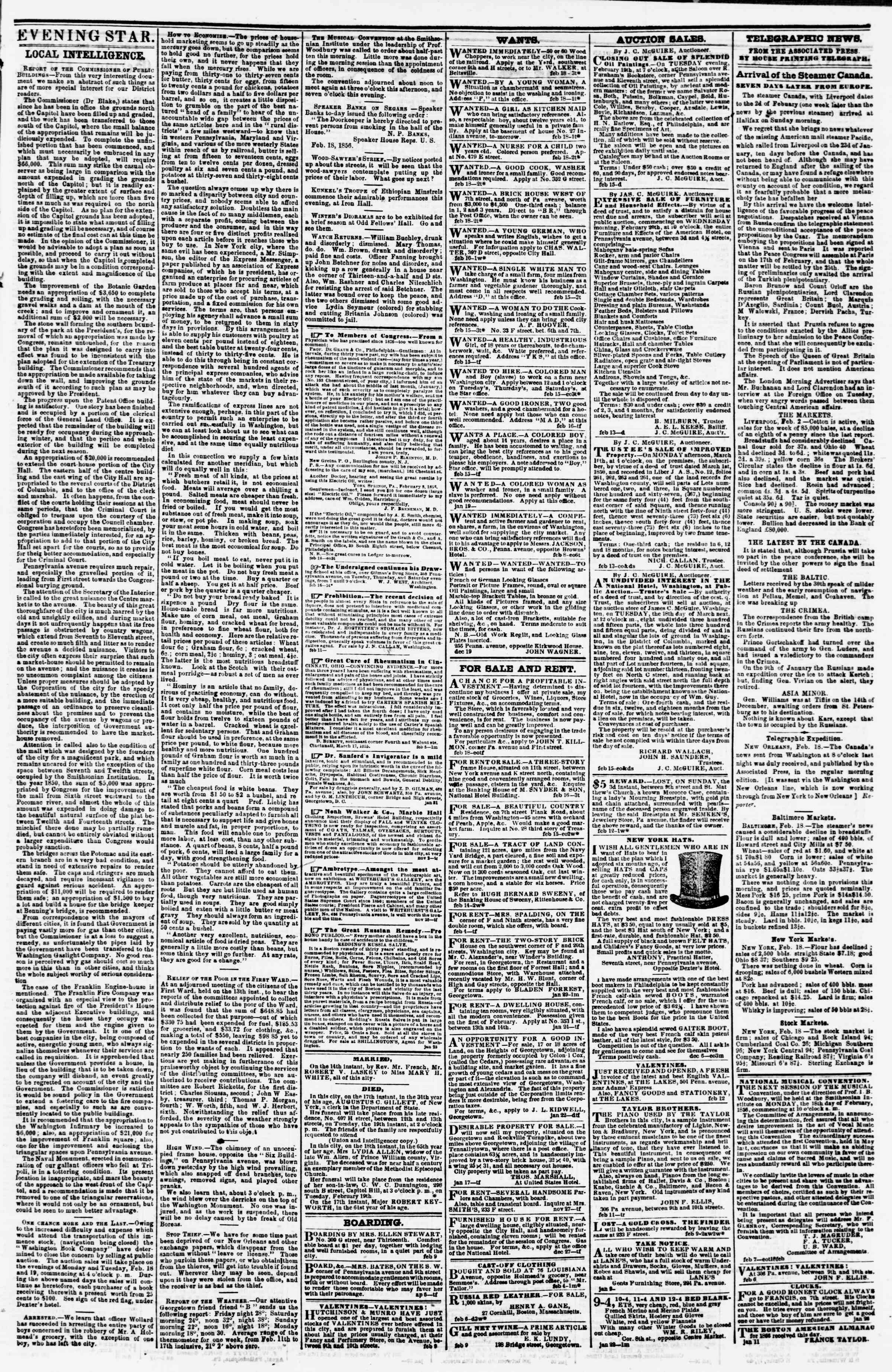 Newspaper of Evening Star dated February 18, 1856 Page 3
