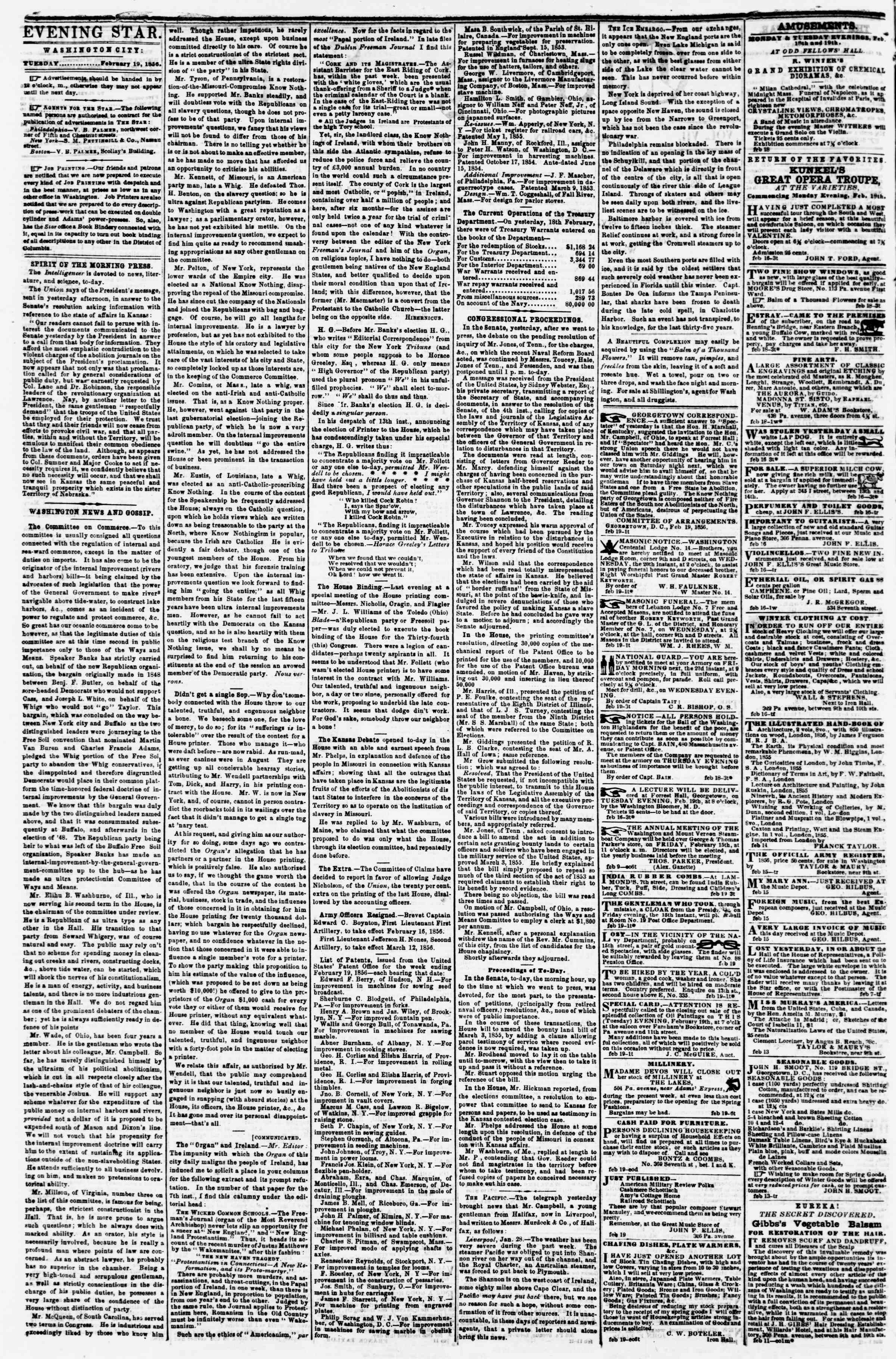 Newspaper of Evening Star dated February 19, 1856 Page 2