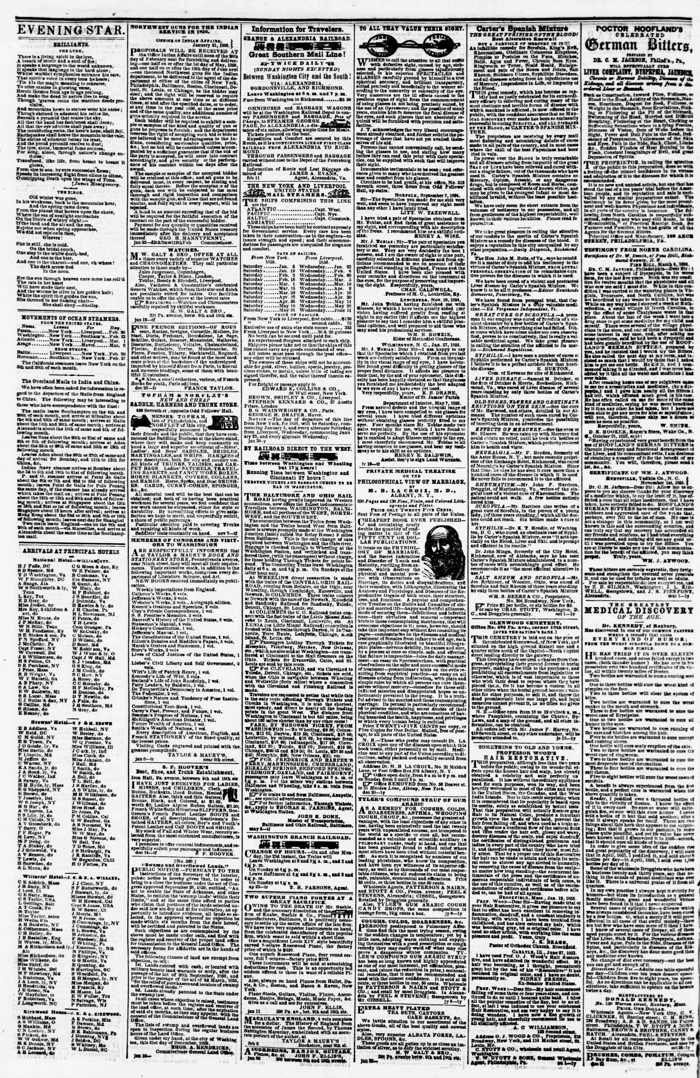 Newspaper of Evening Star dated February 20, 1856 Page 4