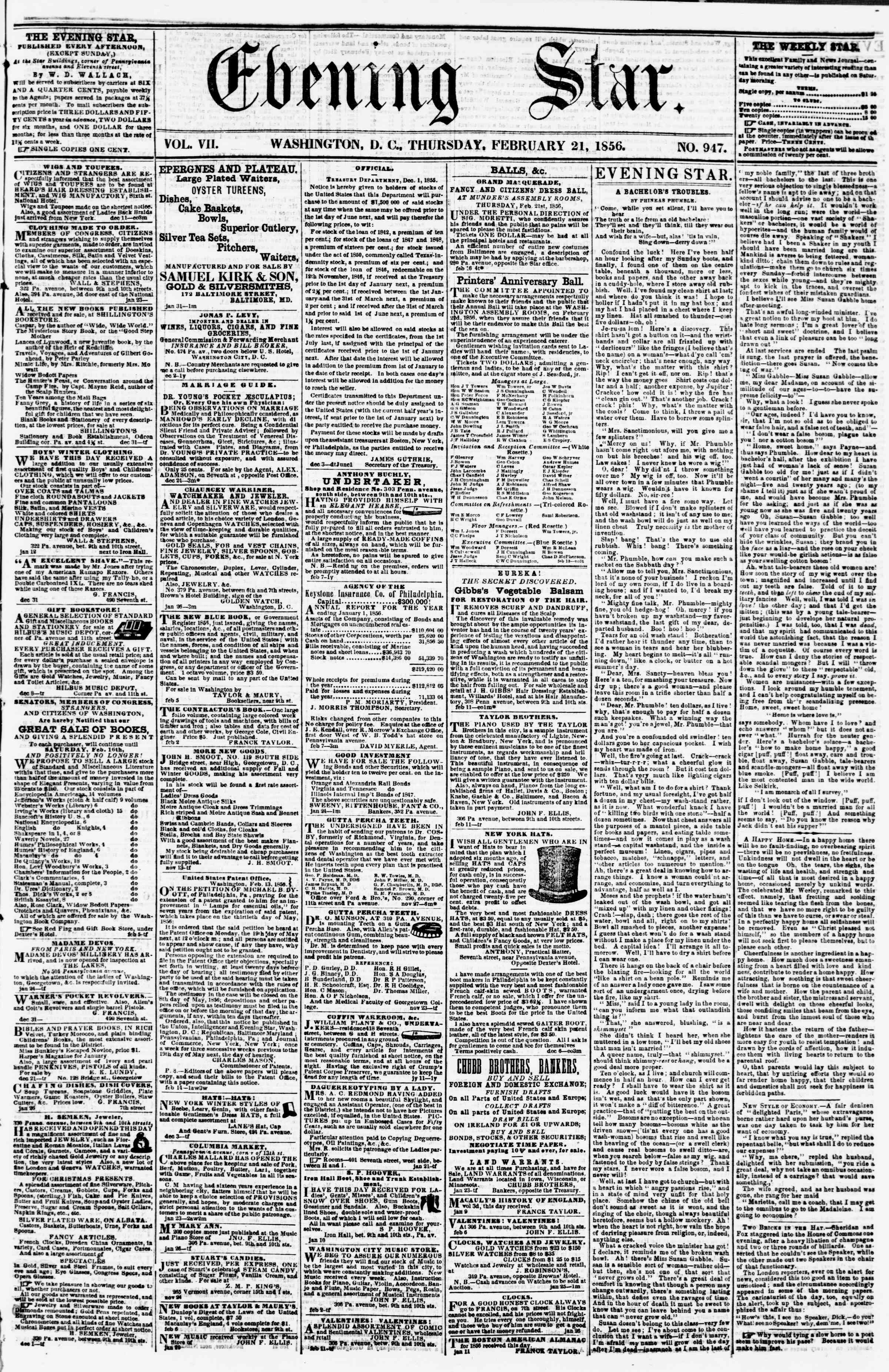 Newspaper of Evening Star dated February 21, 1856 Page 1