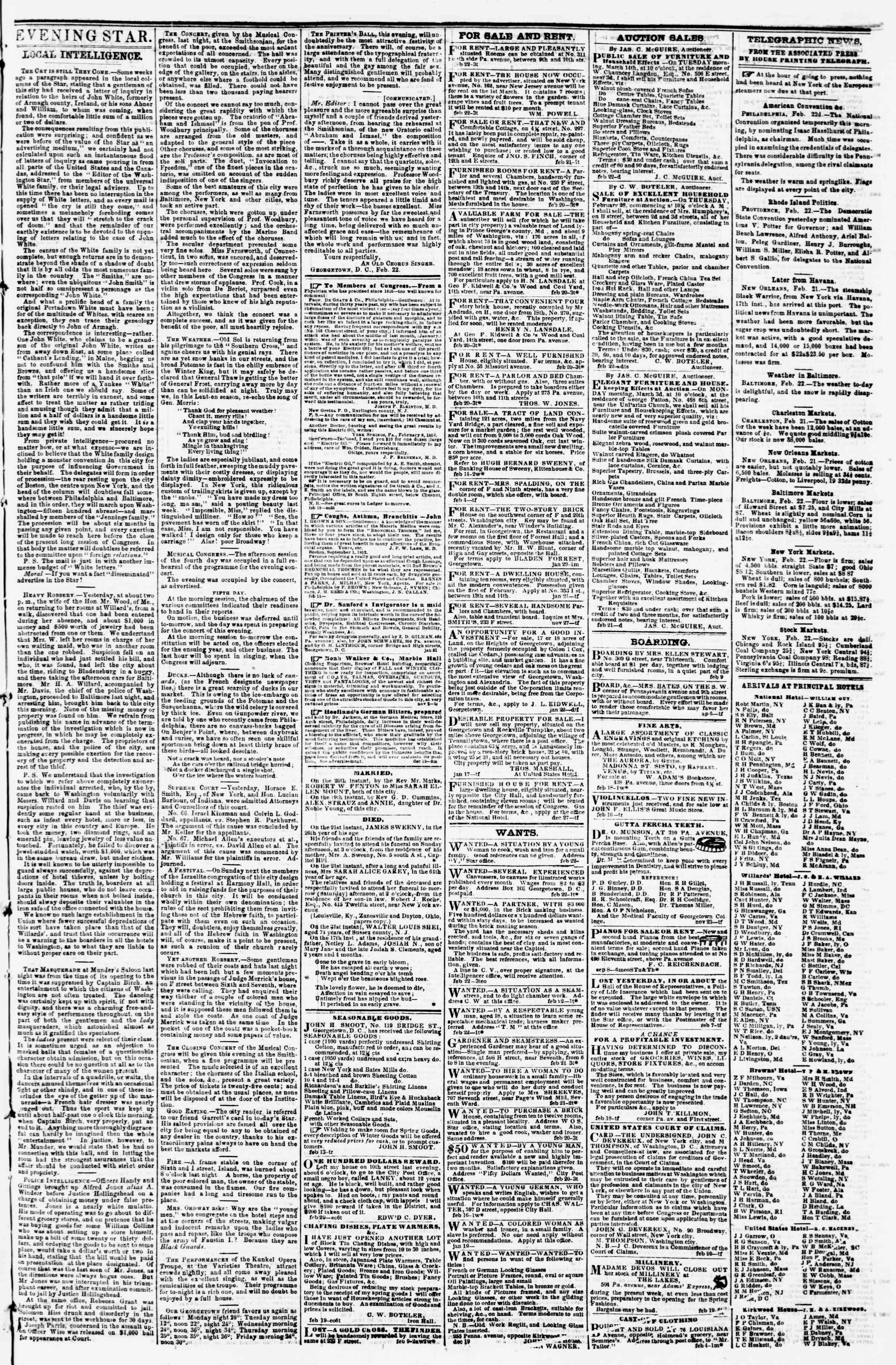 Newspaper of Evening Star dated February 22, 1856 Page 3