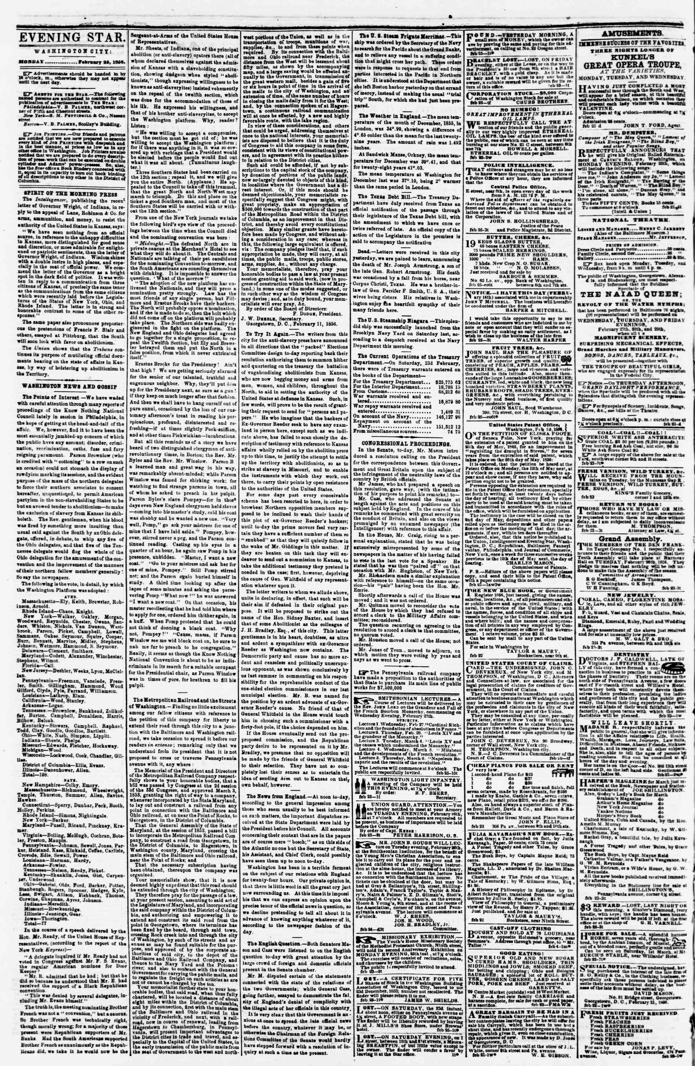 Newspaper of Evening Star dated February 25, 1856 Page 2