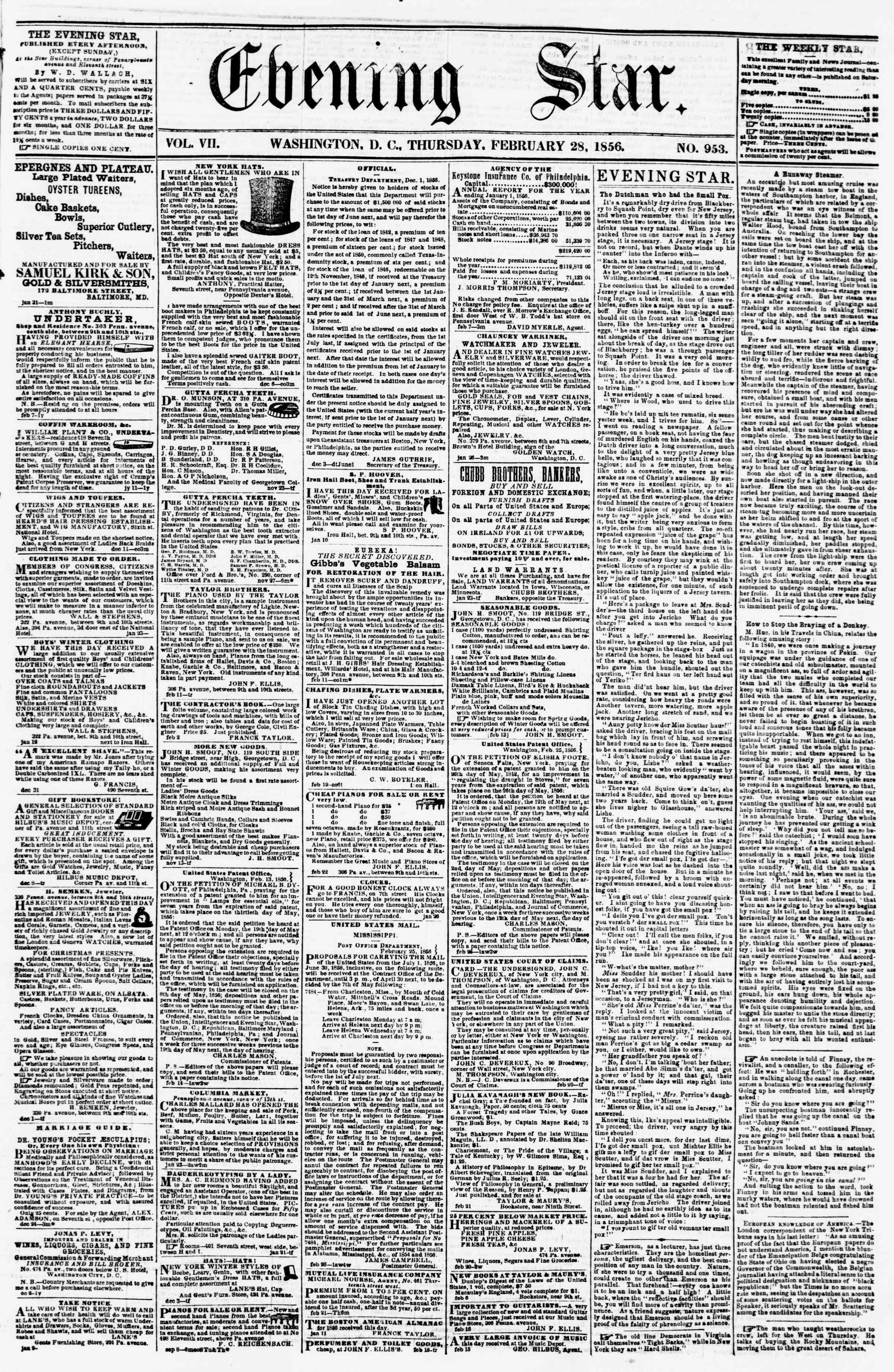 Newspaper of Evening Star dated February 28, 1856 Page 1