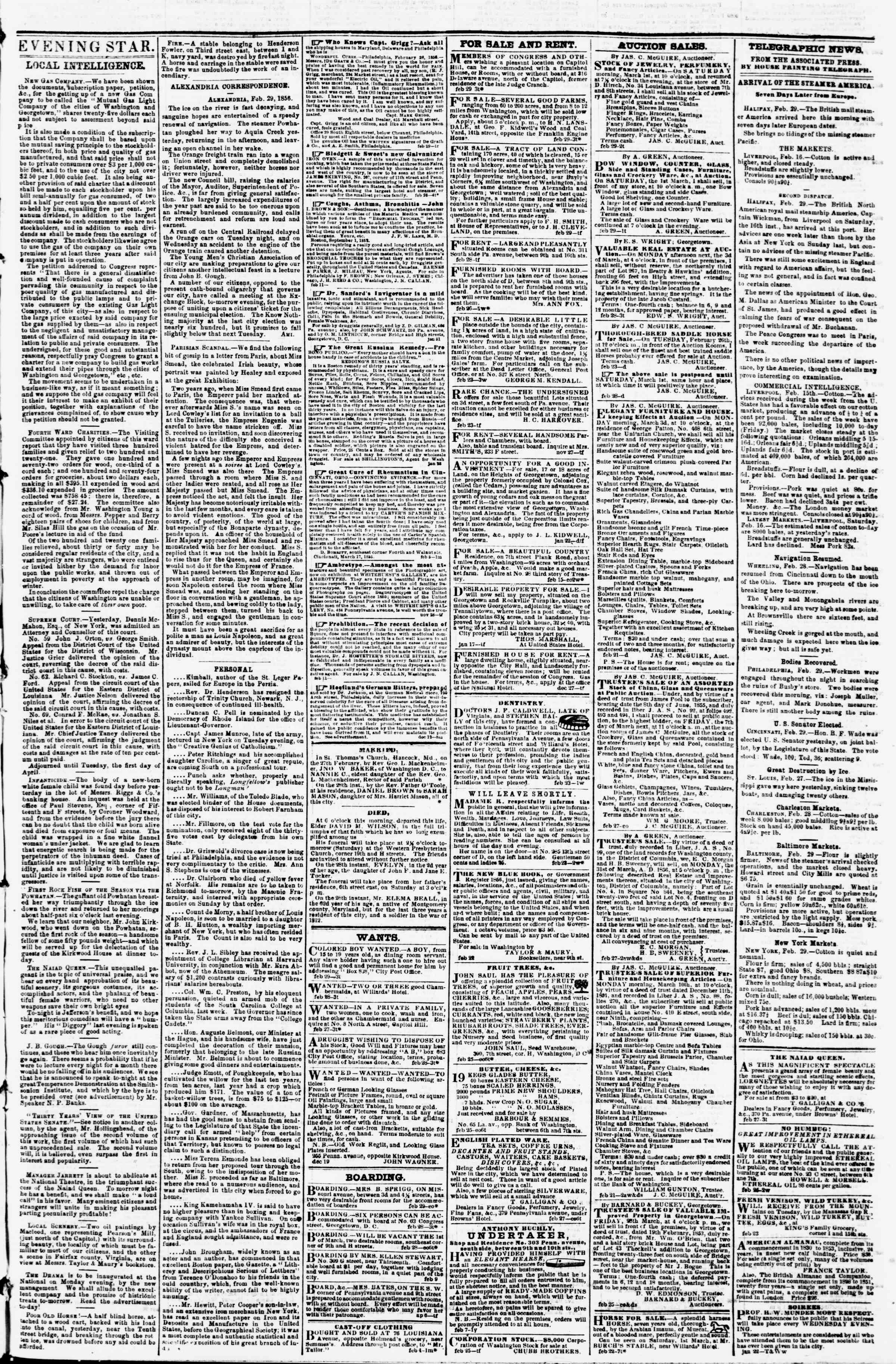 Newspaper of Evening Star dated February 29, 1856 Page 3