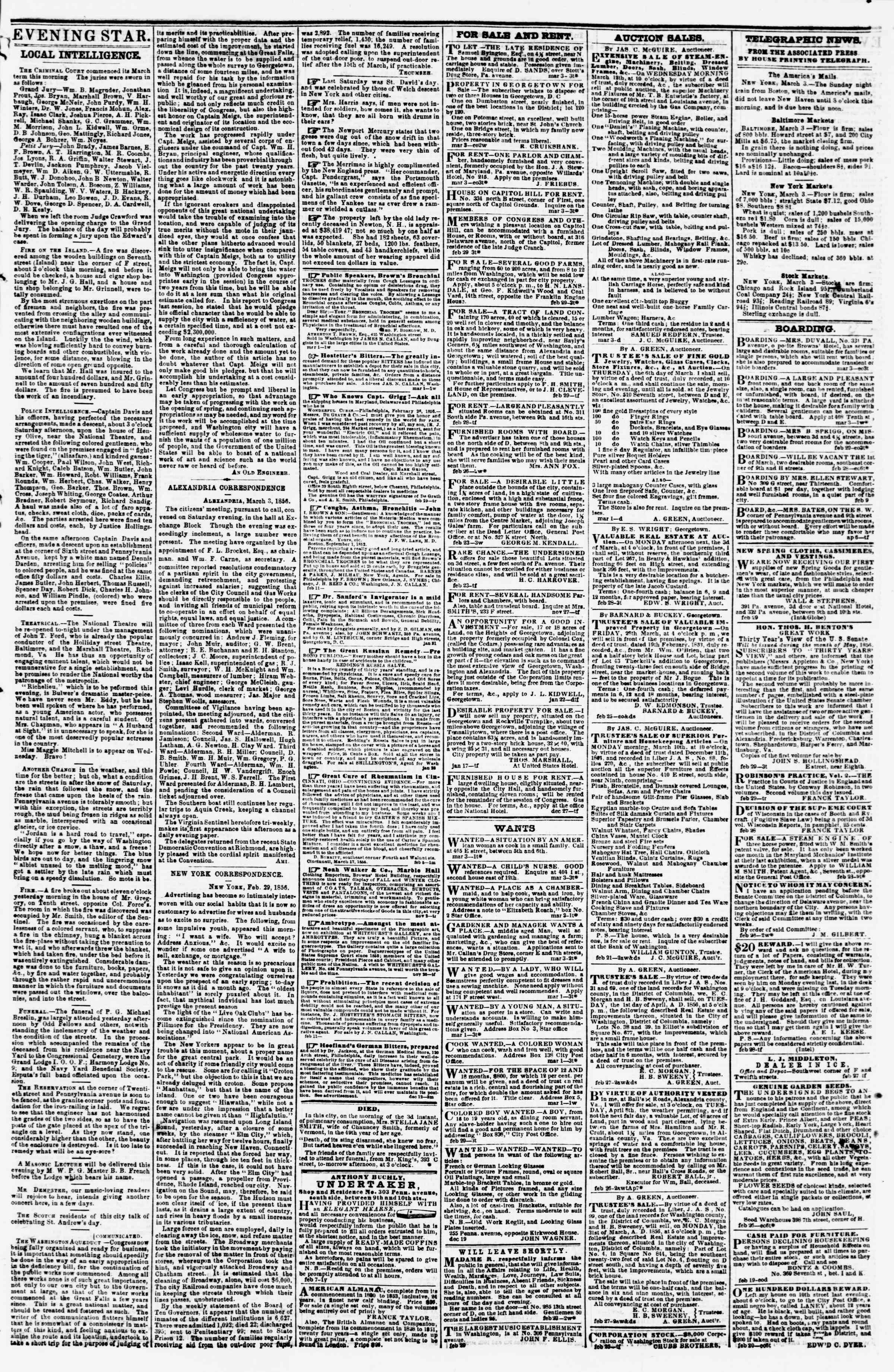 Newspaper of Evening Star dated March 3, 1856 Page 3