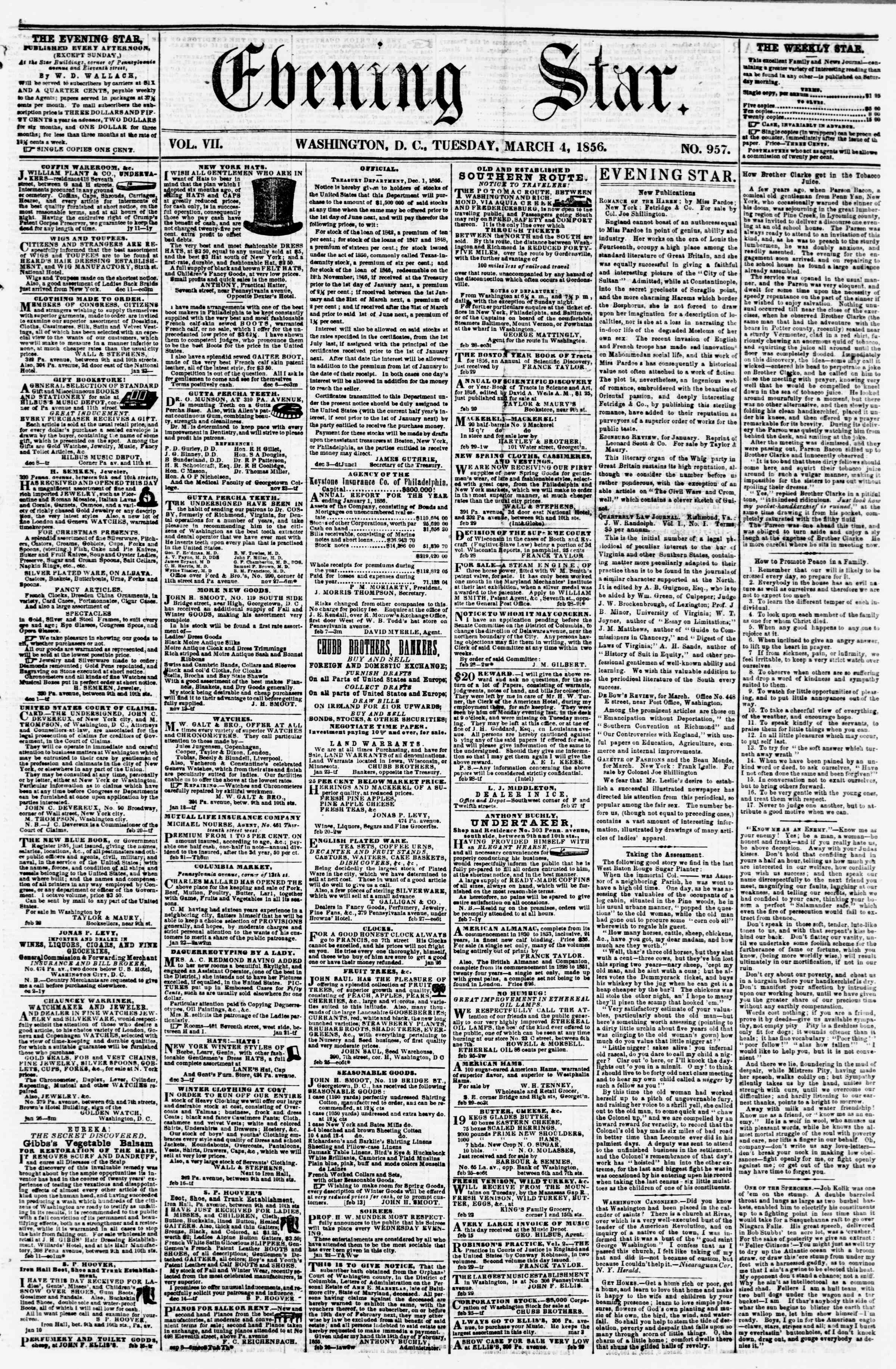 Newspaper of Evening Star dated March 4, 1856 Page 1