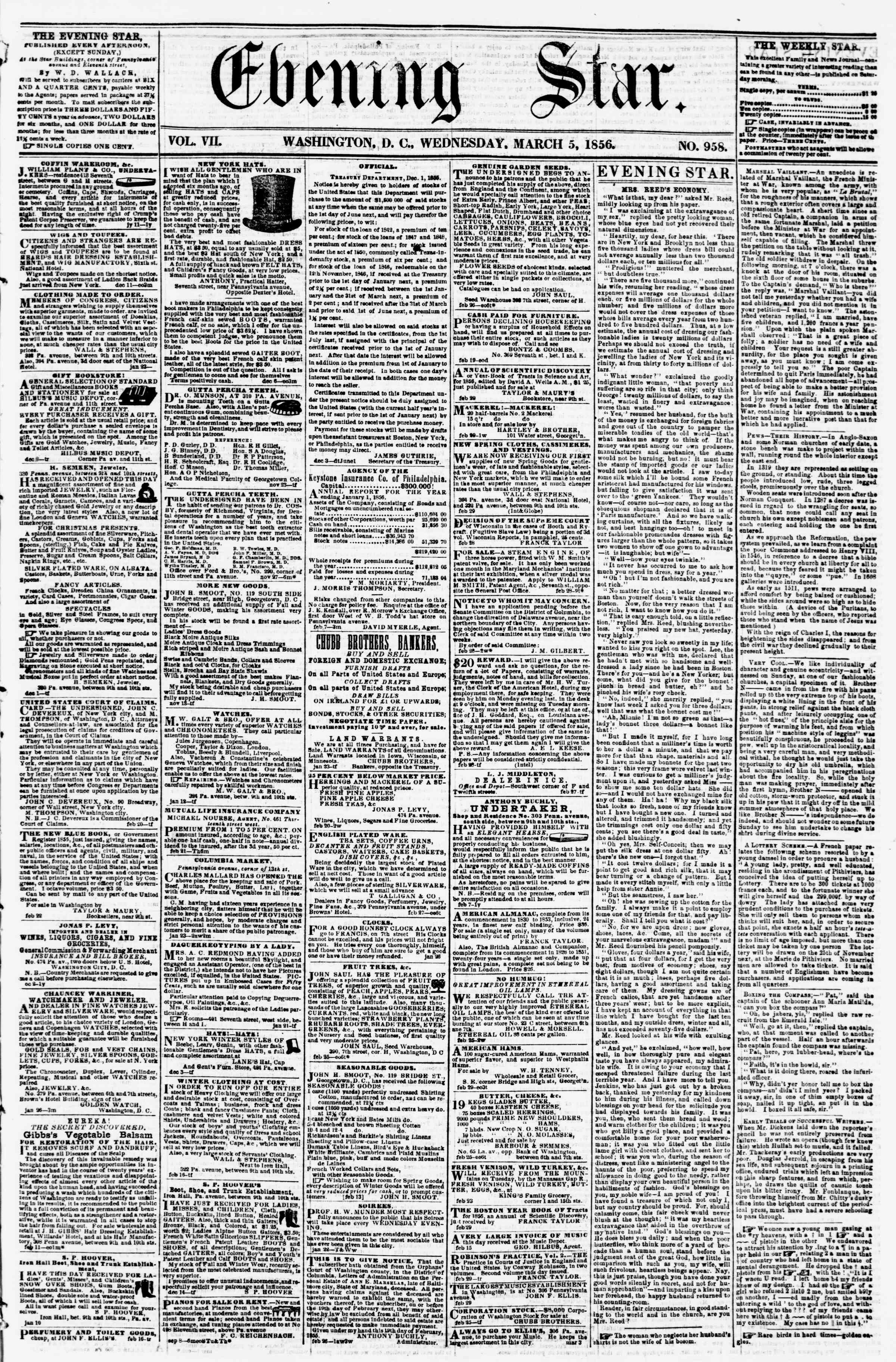 Newspaper of Evening Star dated March 5, 1856 Page 1