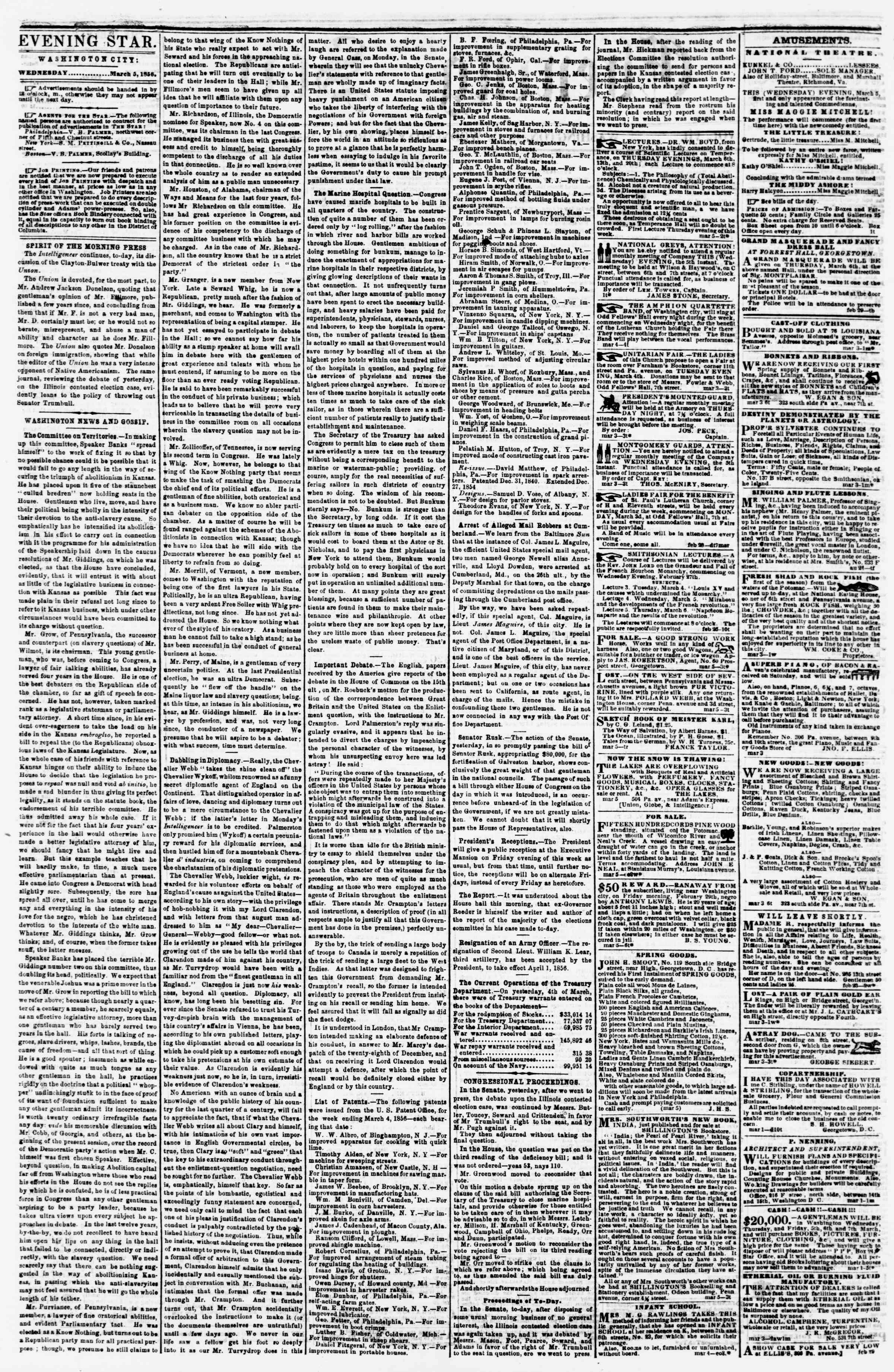 Newspaper of Evening Star dated March 5, 1856 Page 2