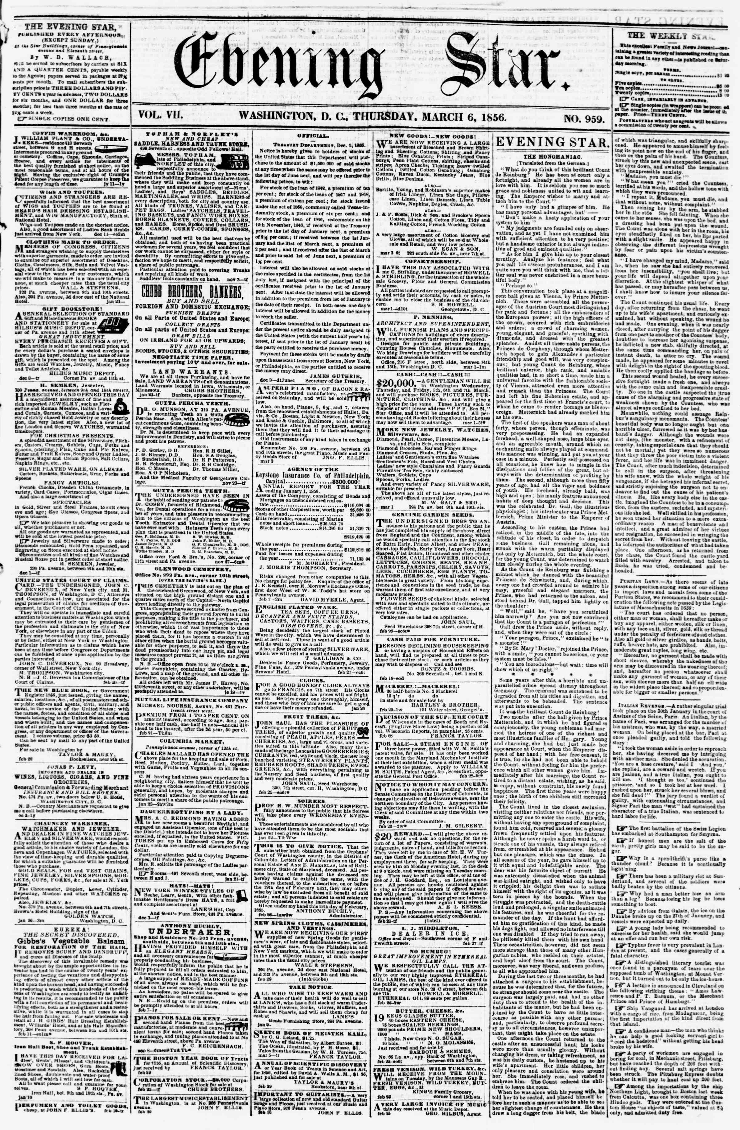 Newspaper of Evening Star dated March 6, 1856 Page 1