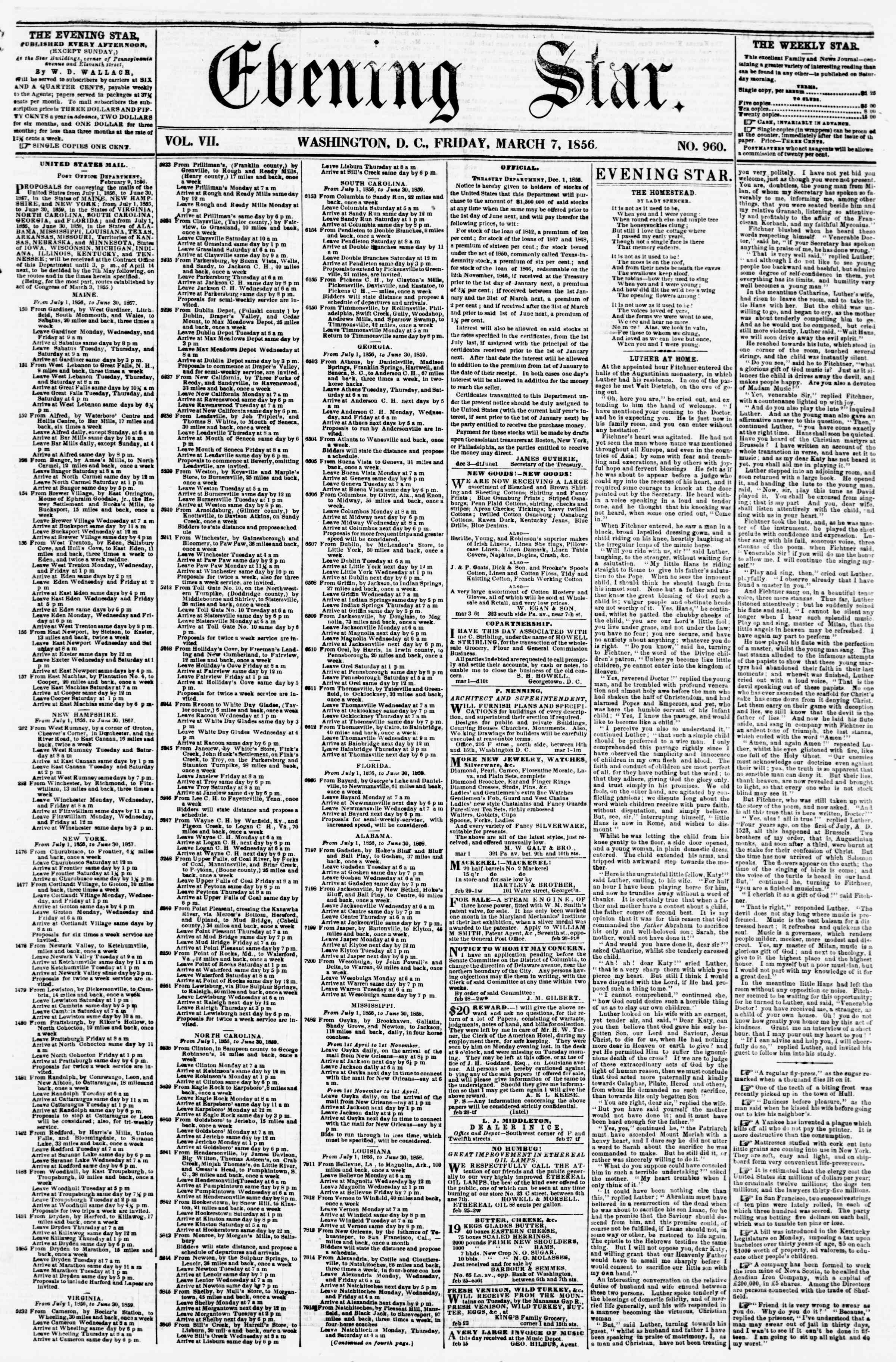 Newspaper of Evening Star dated March 7, 1856 Page 1