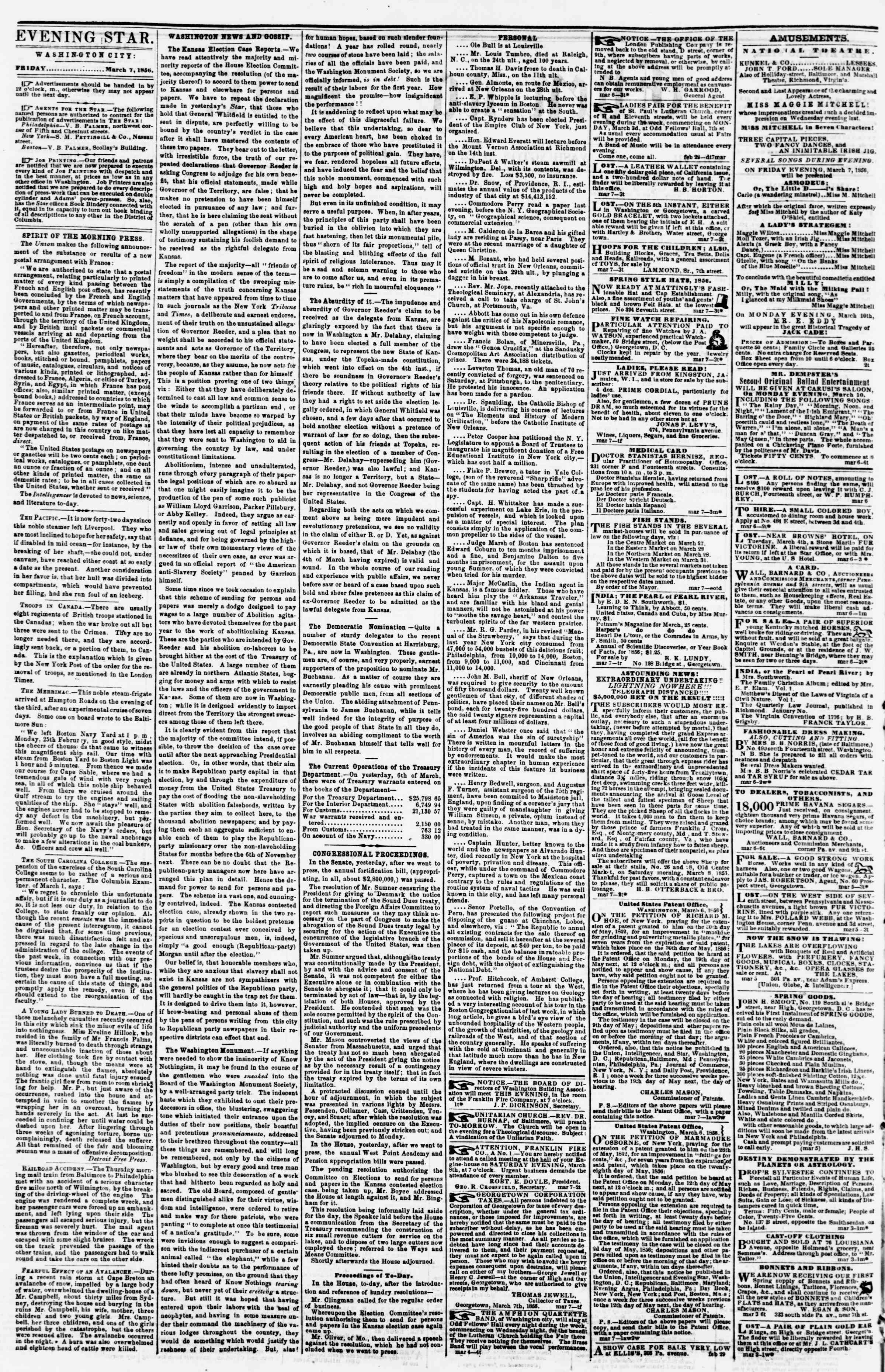 Newspaper of Evening Star dated March 7, 1856 Page 2