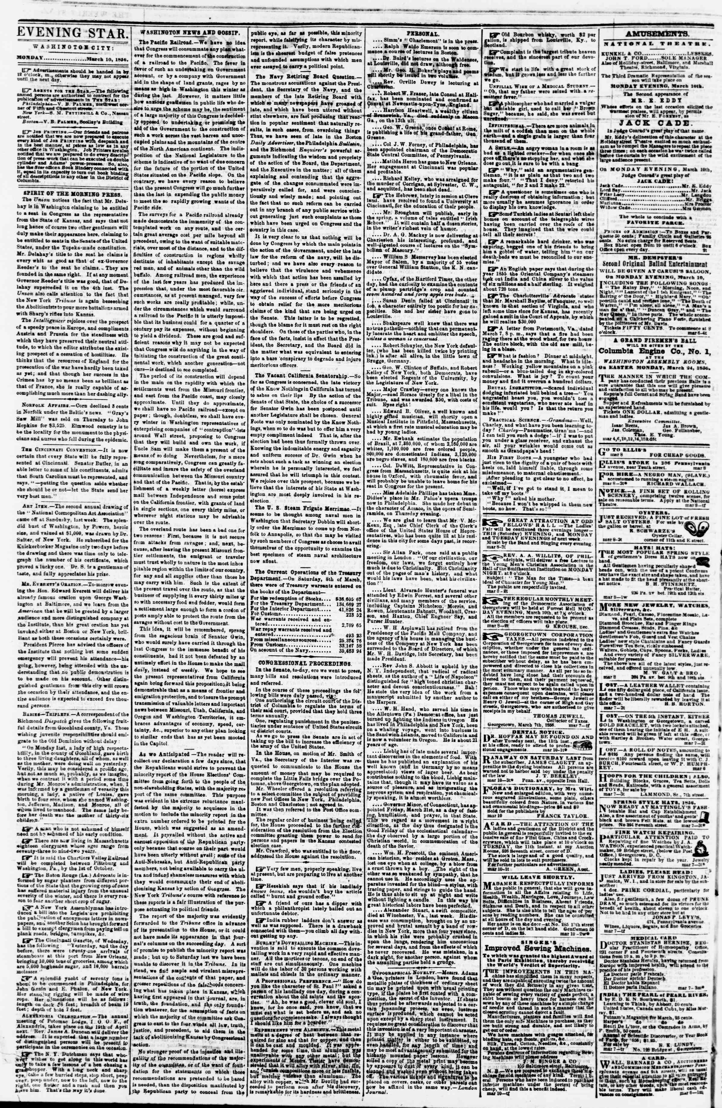 Newspaper of Evening Star dated March 10, 1856 Page 2