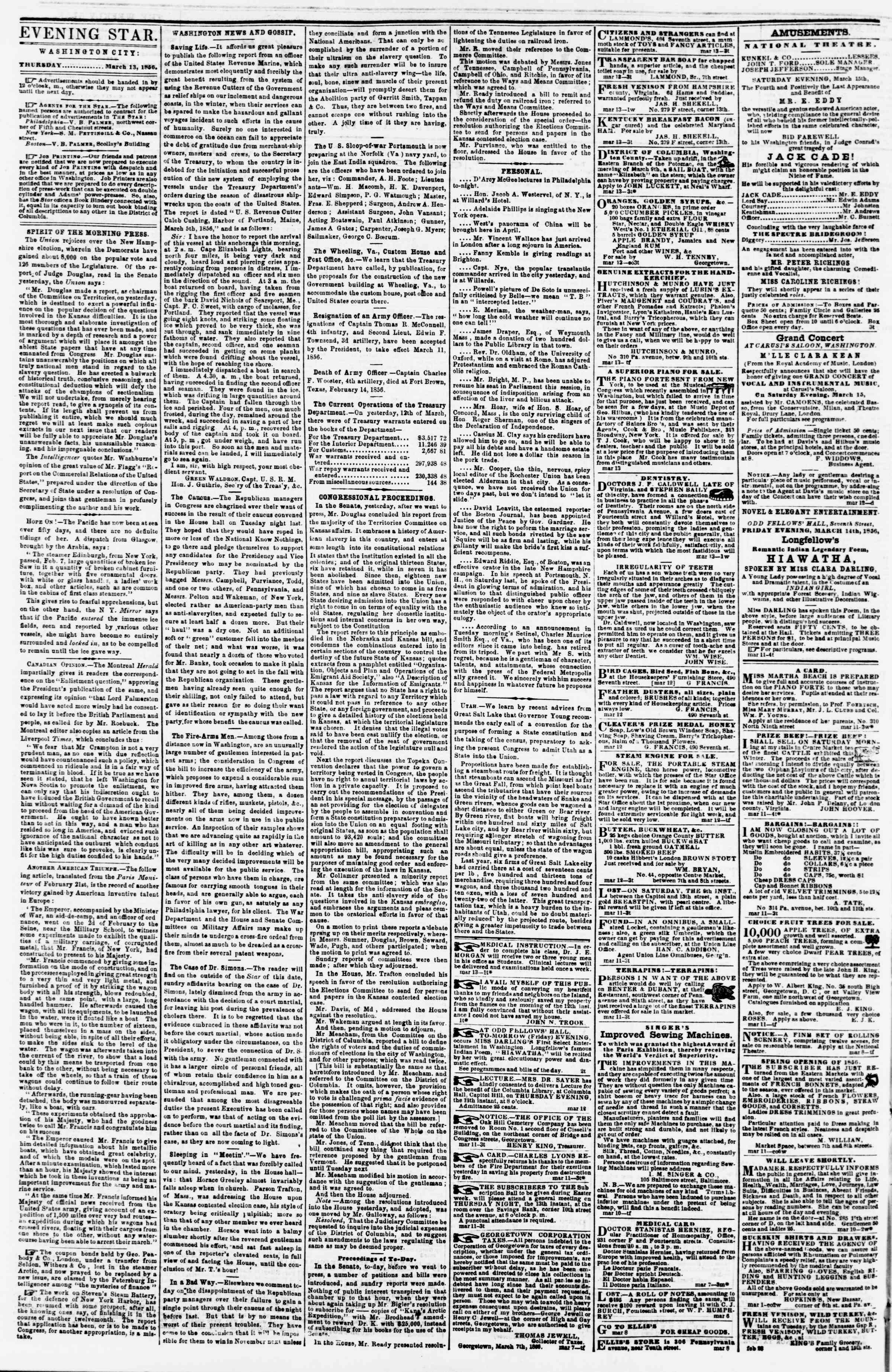 Newspaper of Evening Star dated March 13, 1856 Page 2