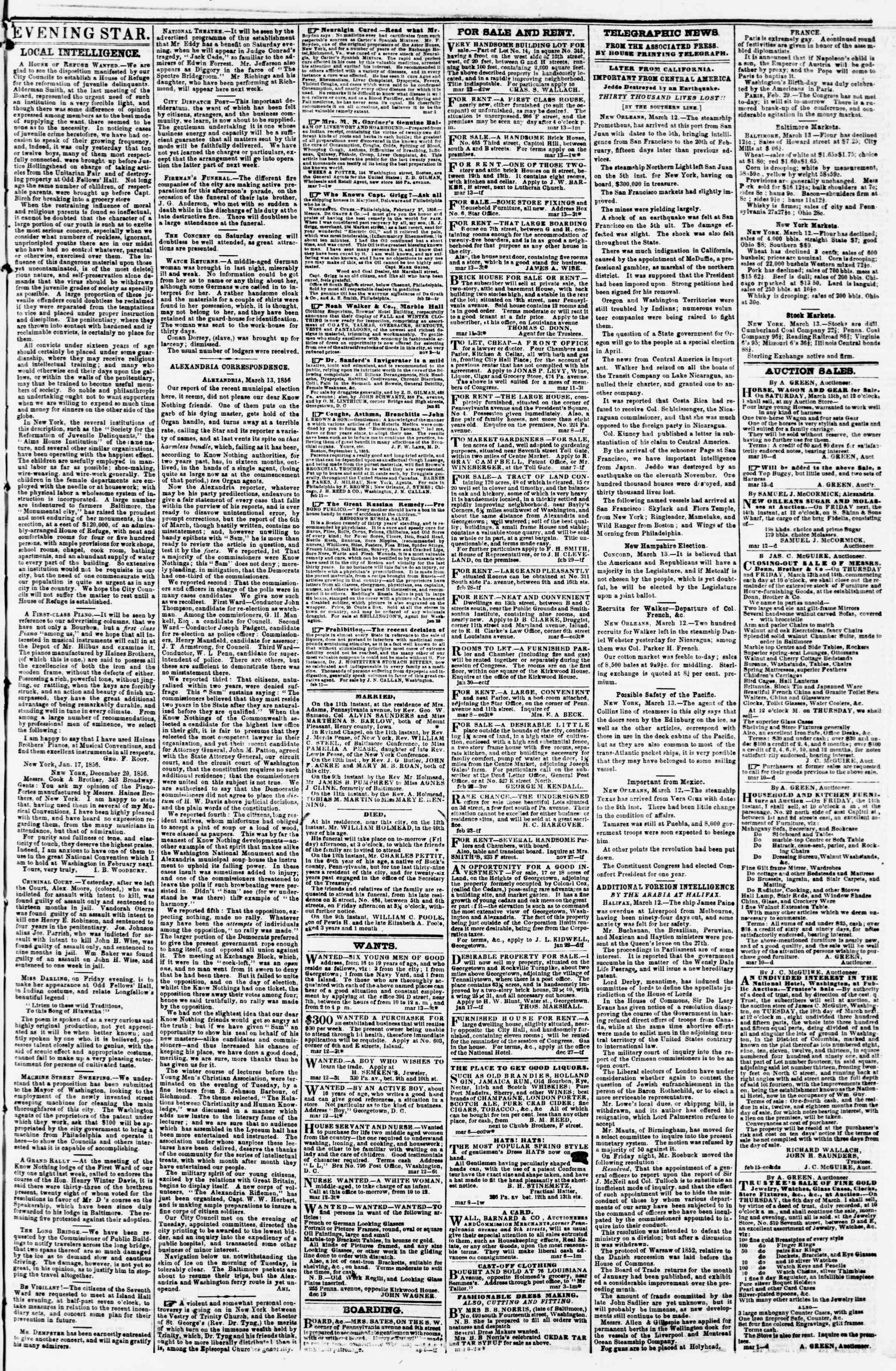 Newspaper of Evening Star dated March 13, 1856 Page 3