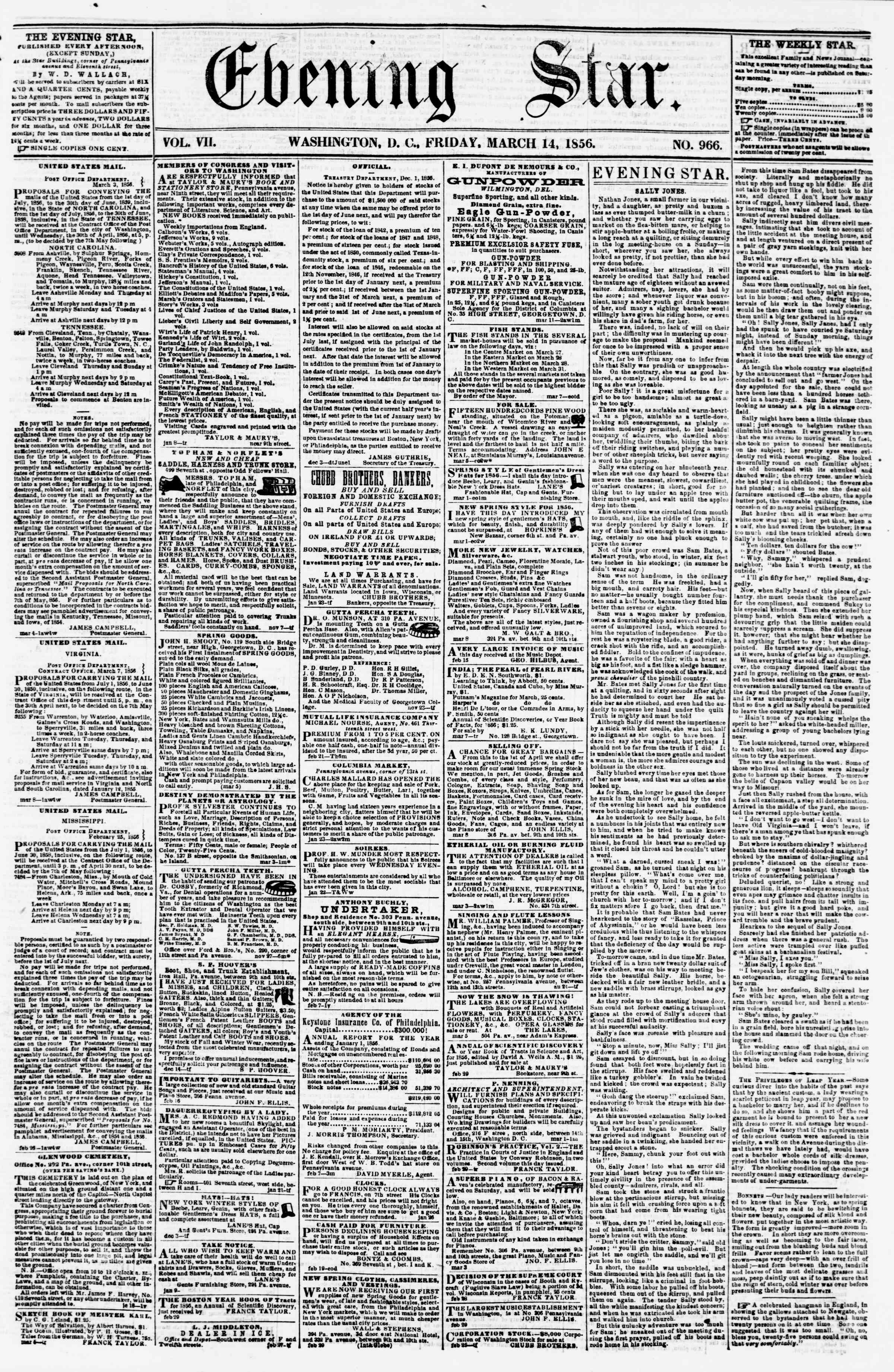Newspaper of Evening Star dated March 14, 1856 Page 1