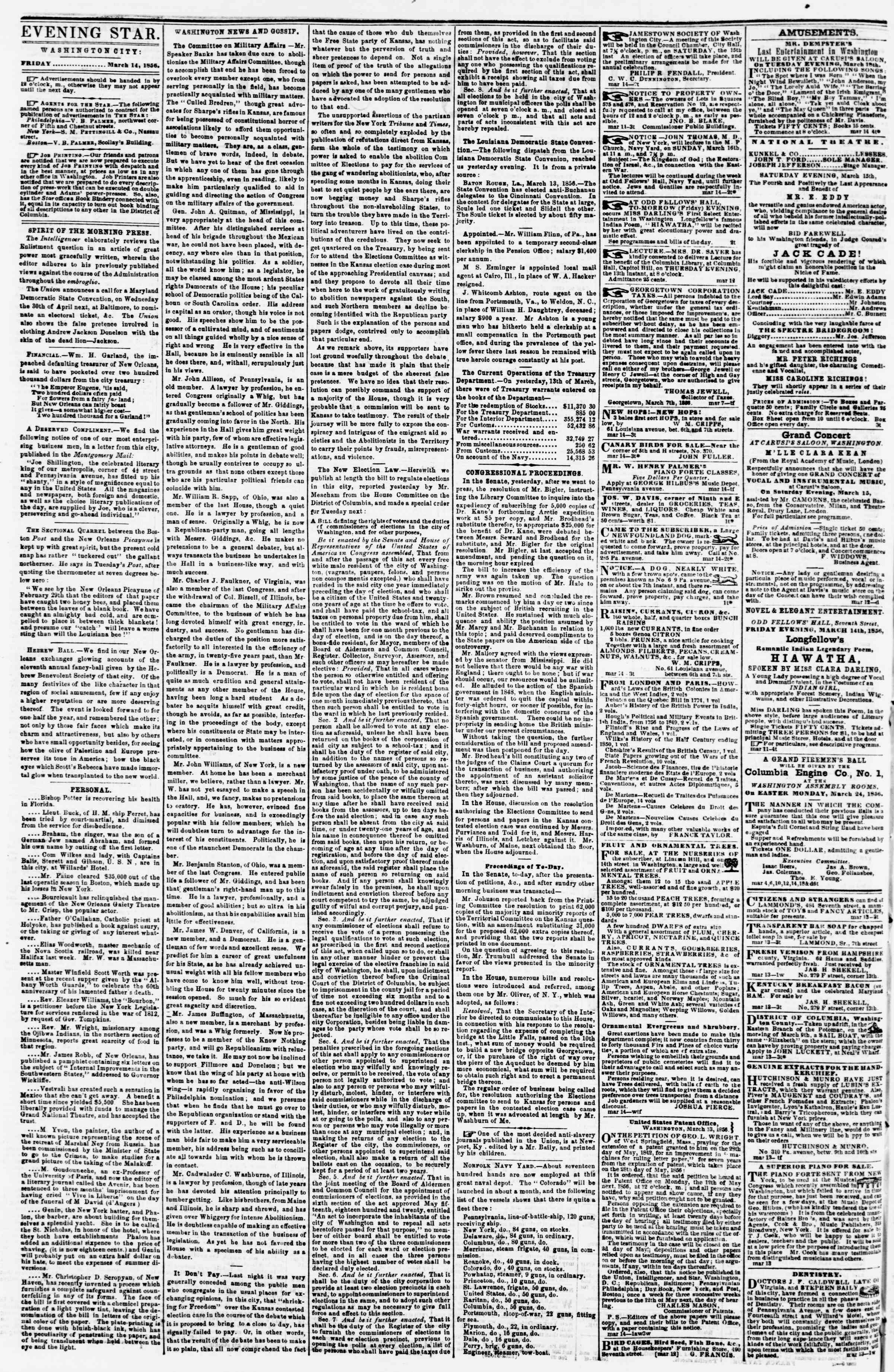 Newspaper of Evening Star dated March 14, 1856 Page 2