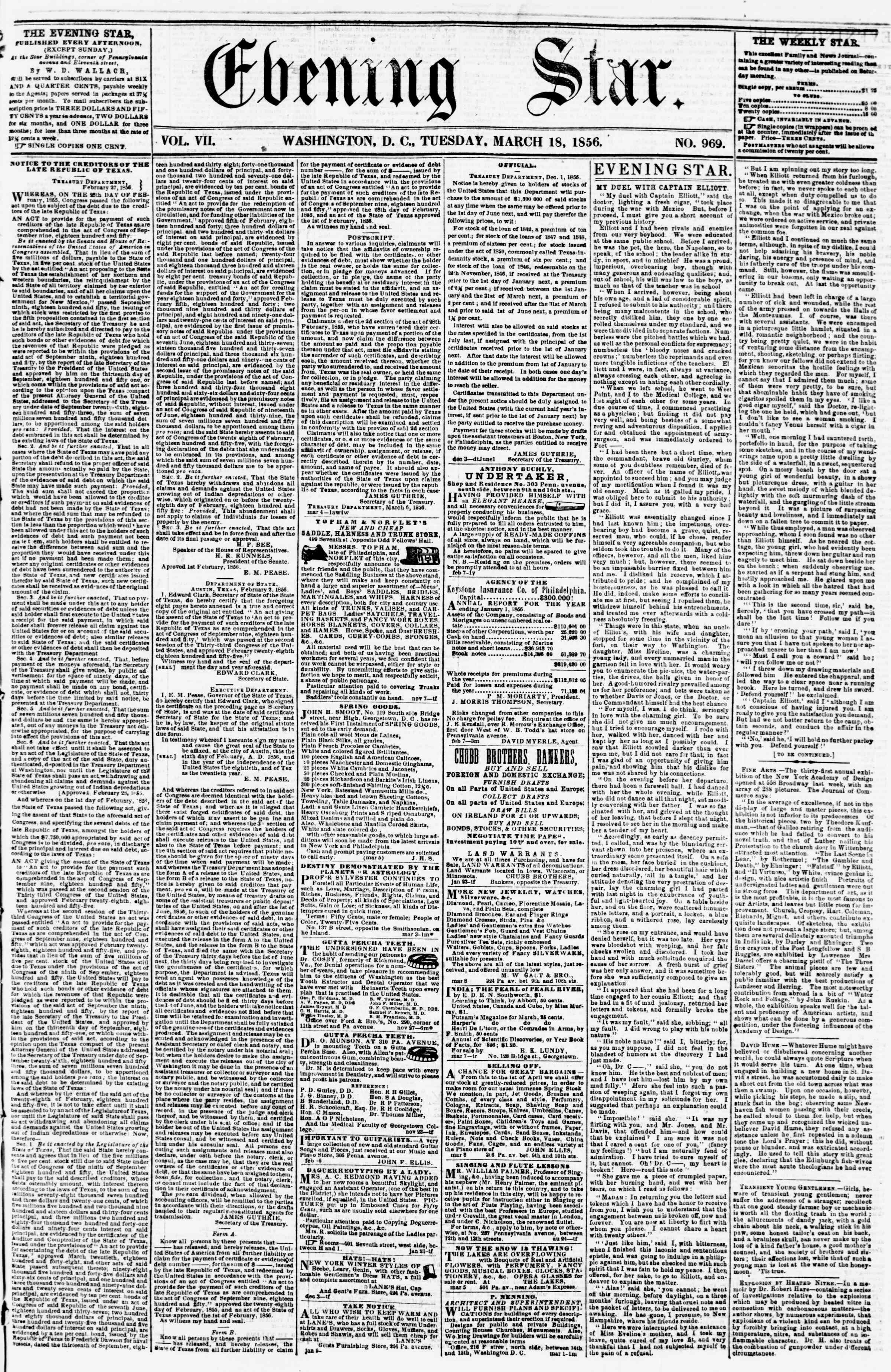 Newspaper of Evening Star dated March 18, 1856 Page 1