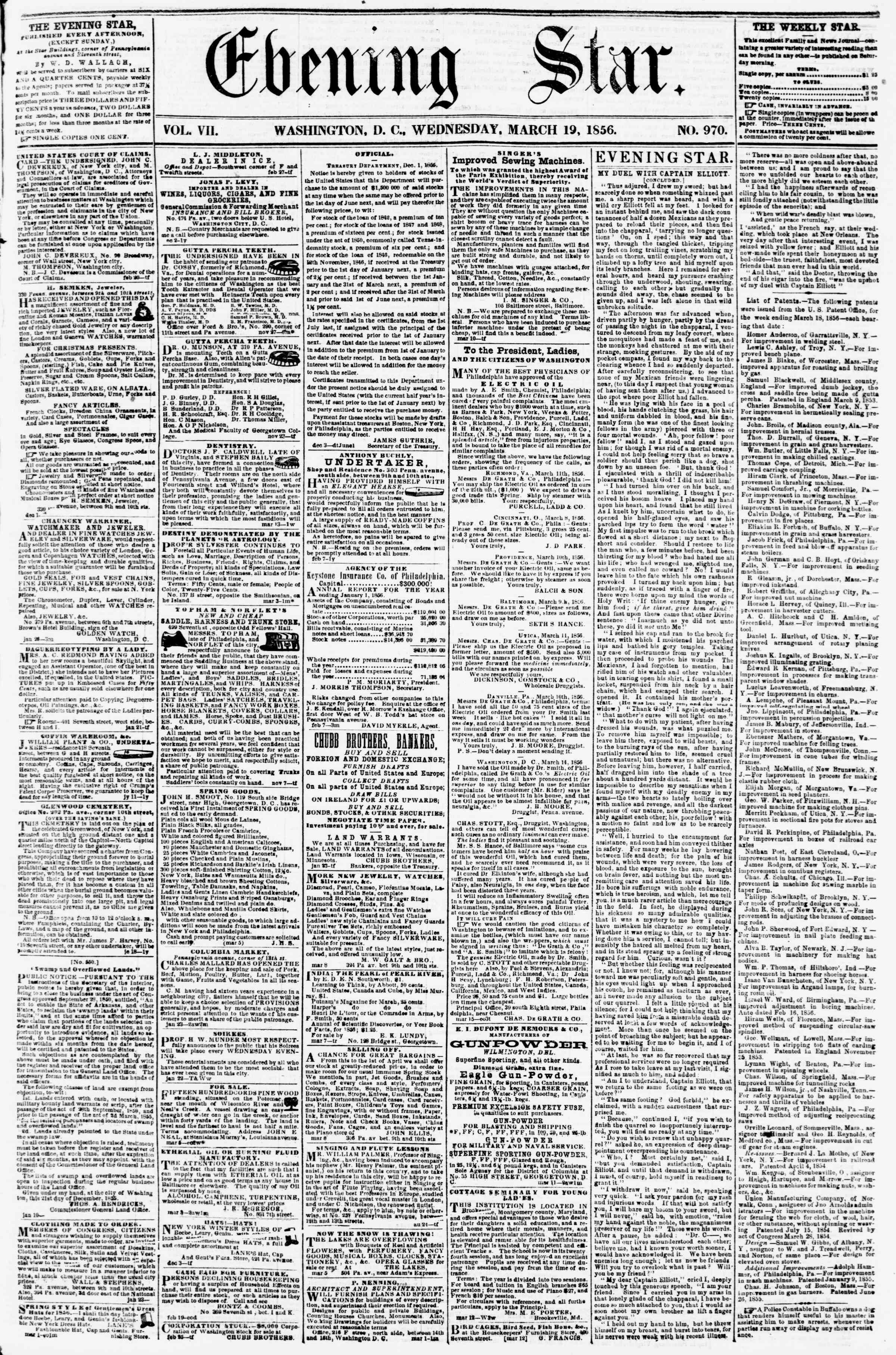 Newspaper of Evening Star dated March 19, 1856 Page 1