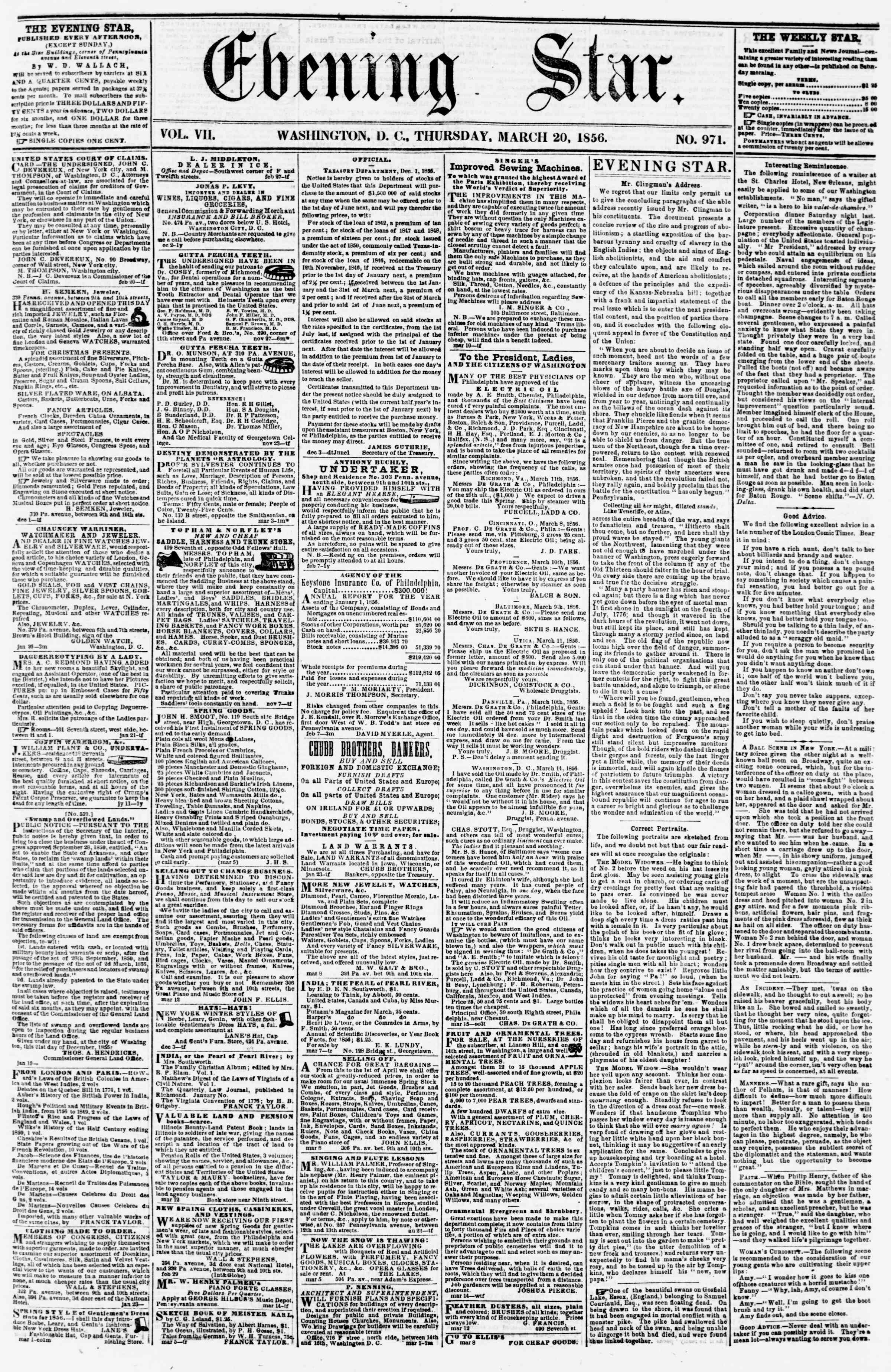 Newspaper of Evening Star dated March 20, 1856 Page 1