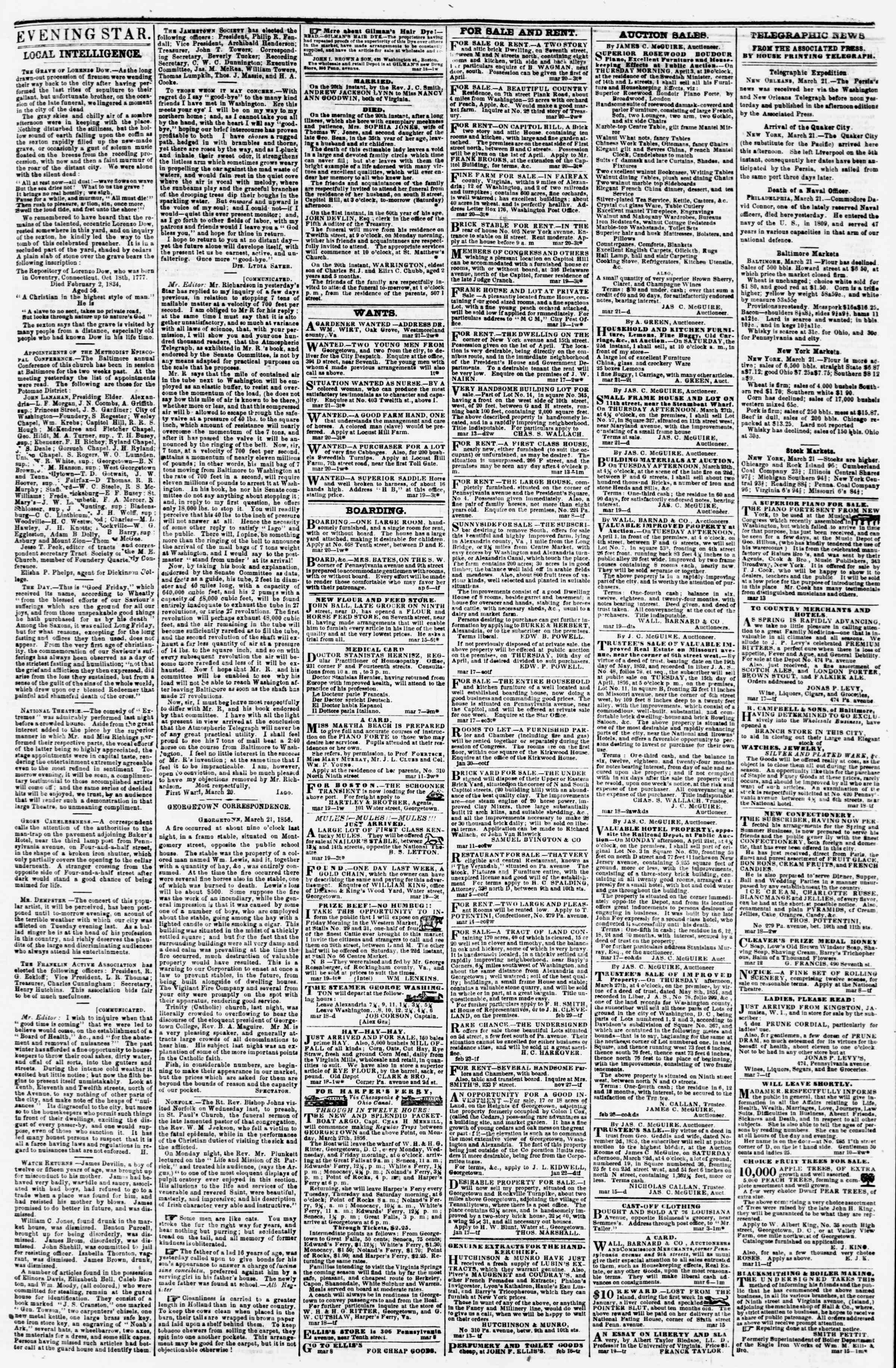 Newspaper of Evening Star dated March 21, 1856 Page 3