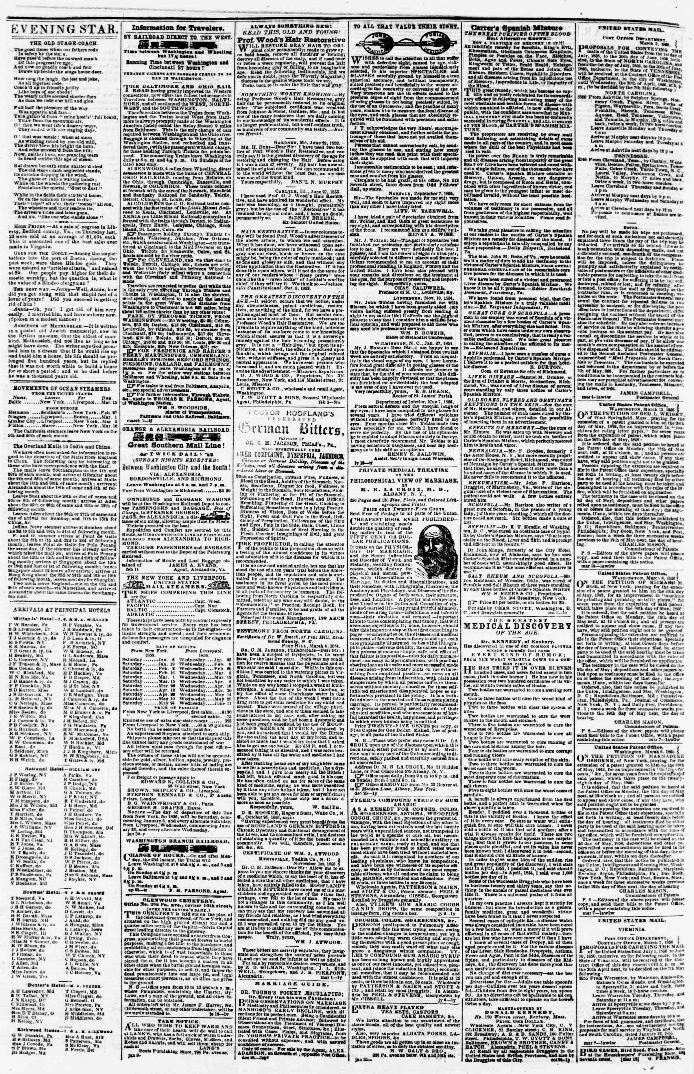 Newspaper of Evening Star dated March 21, 1856 Page 4