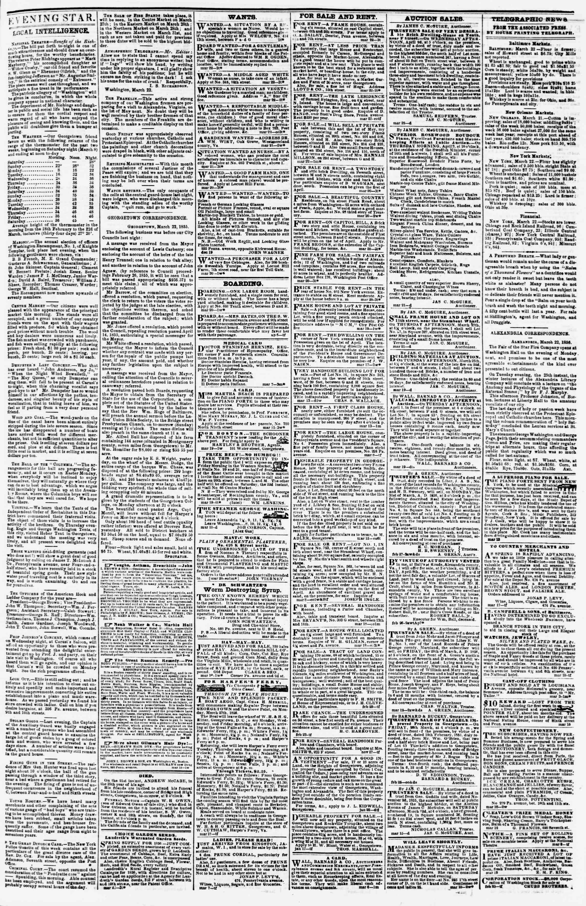 Newspaper of Evening Star dated March 22, 1856 Page 3