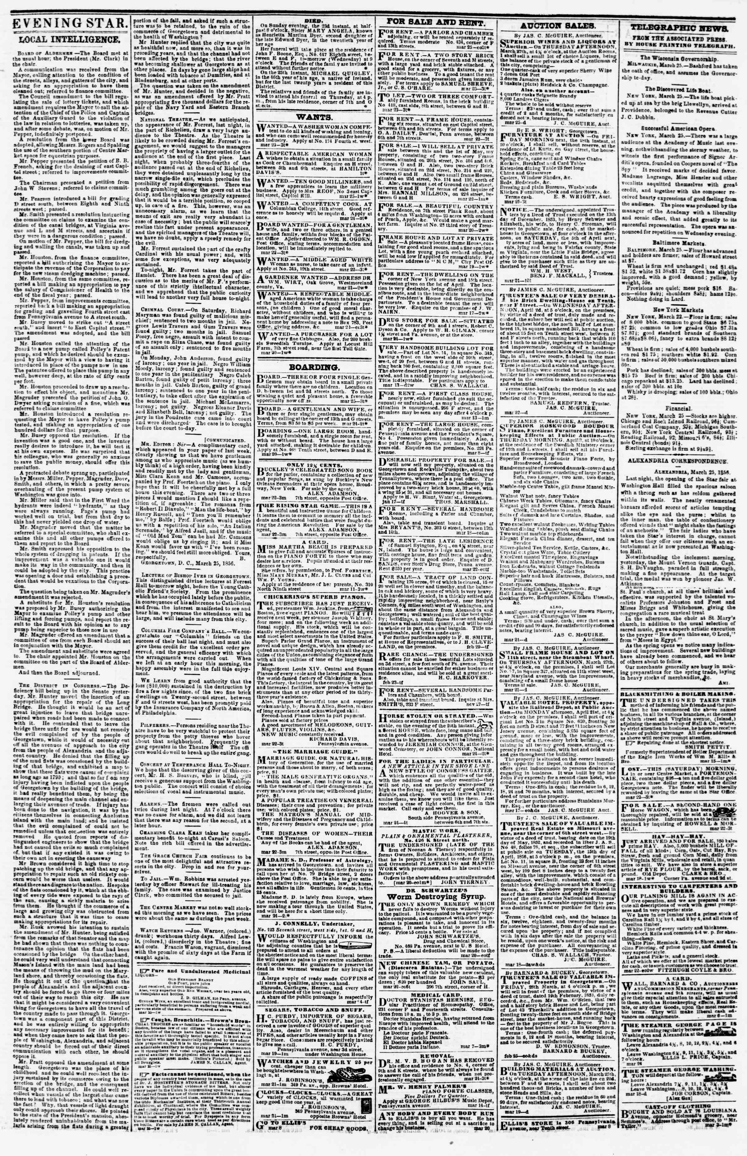 Newspaper of Evening Star dated March 25, 1856 Page 3