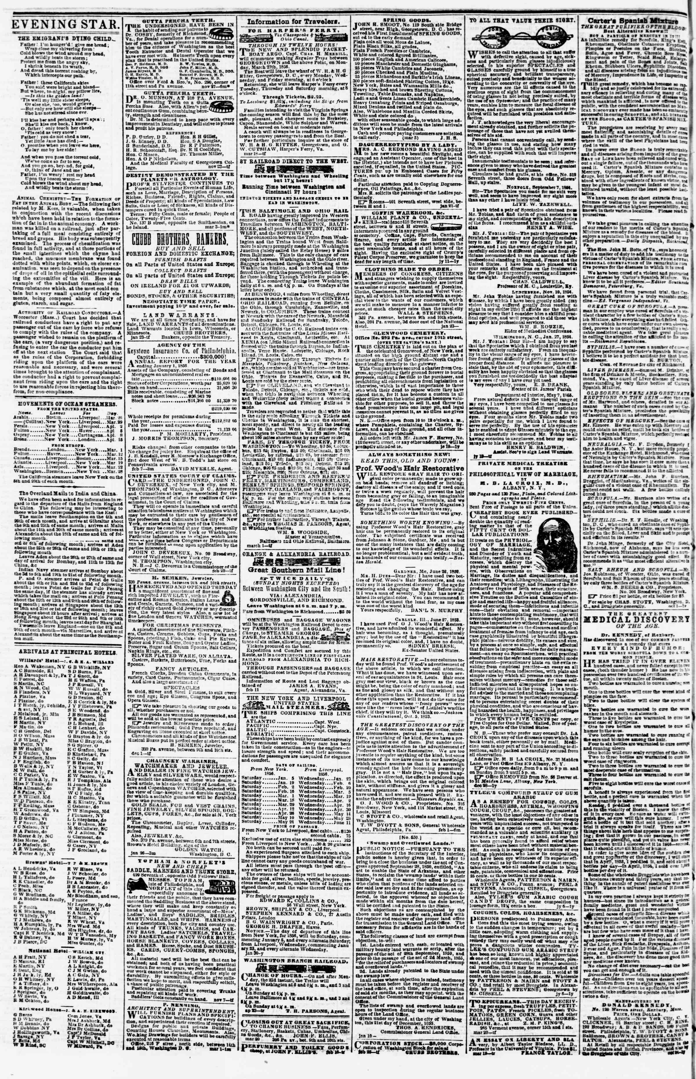 Newspaper of Evening Star dated March 25, 1856 Page 4