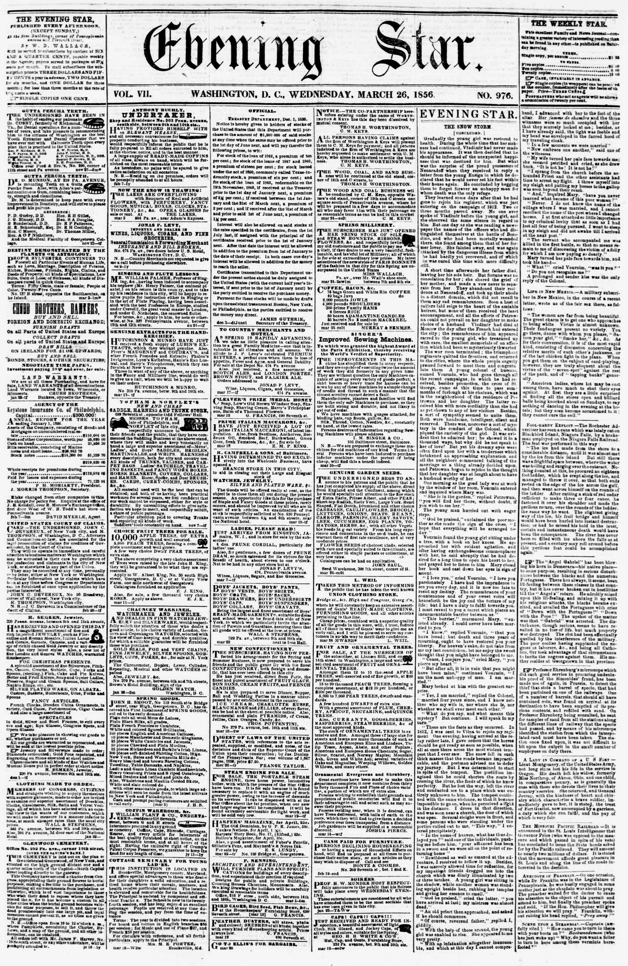 Newspaper of Evening Star dated March 26, 1856 Page 1