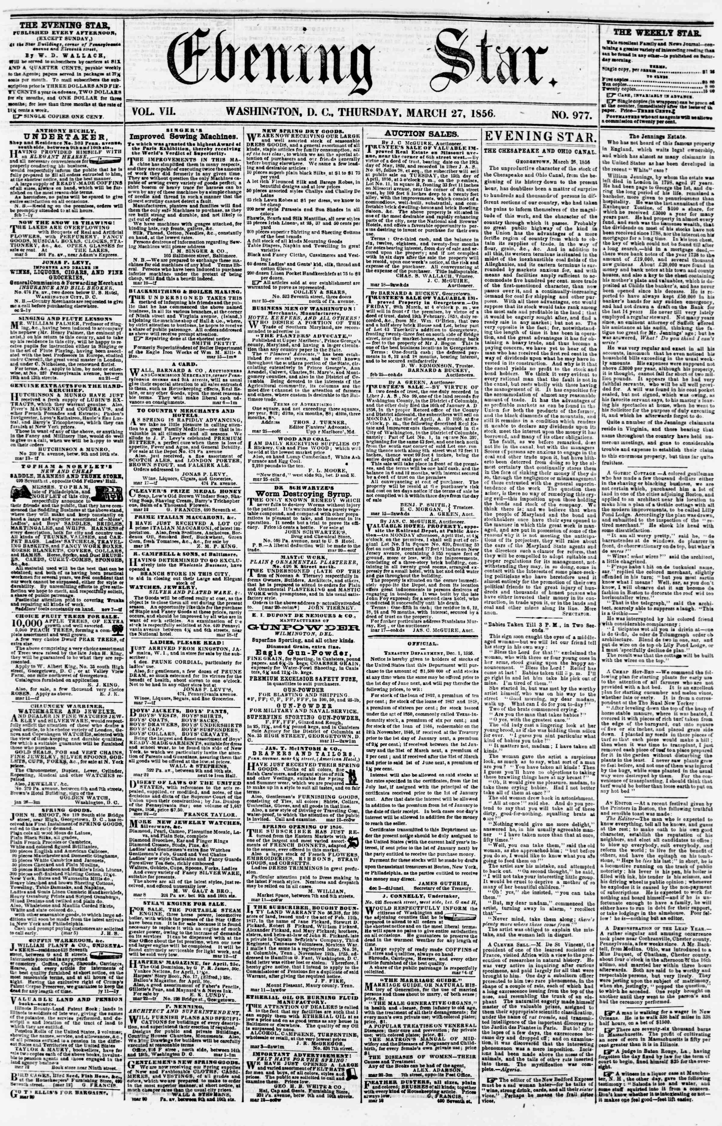Newspaper of Evening Star dated March 27, 1856 Page 1
