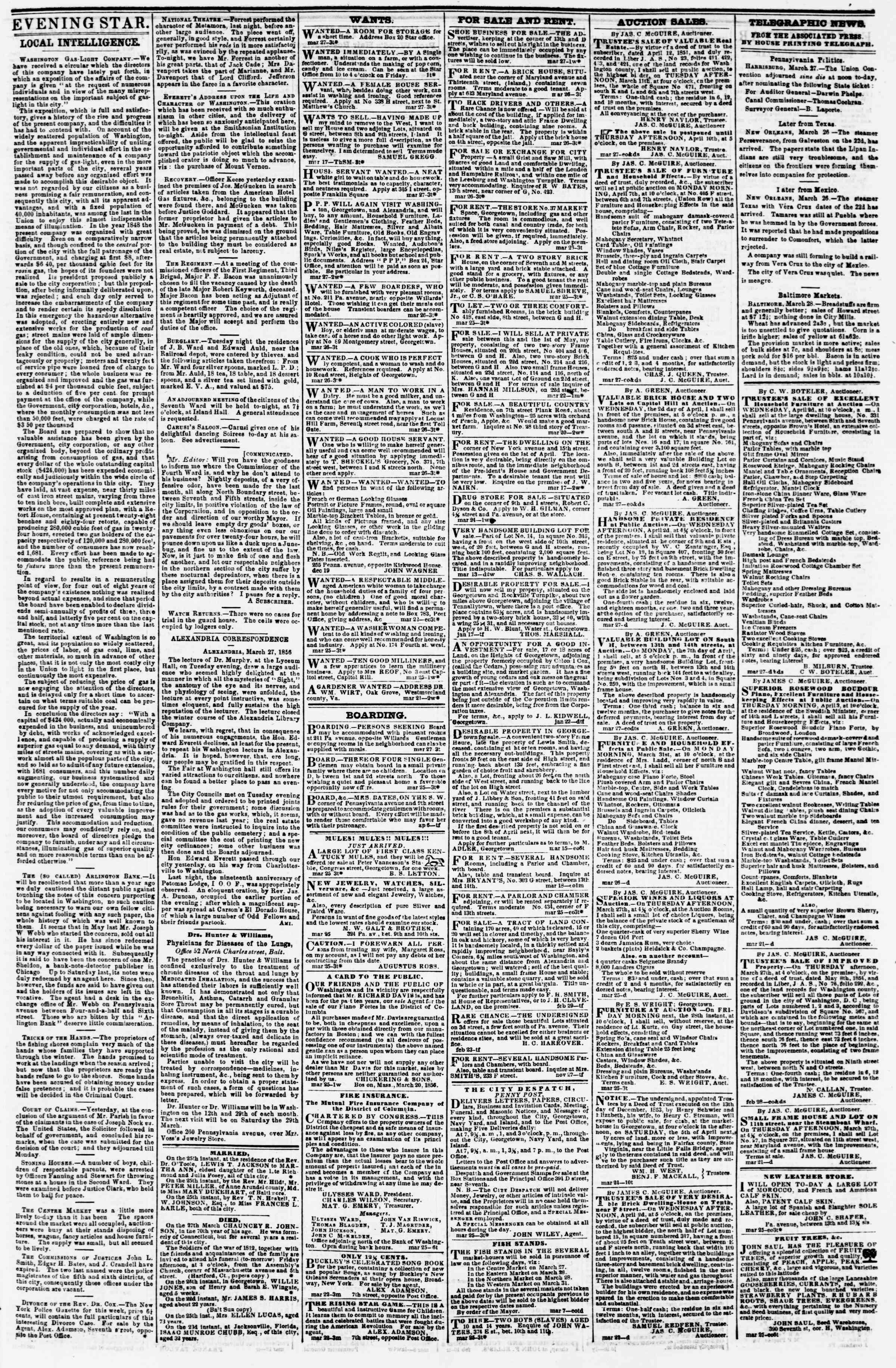 Newspaper of Evening Star dated March 27, 1856 Page 3