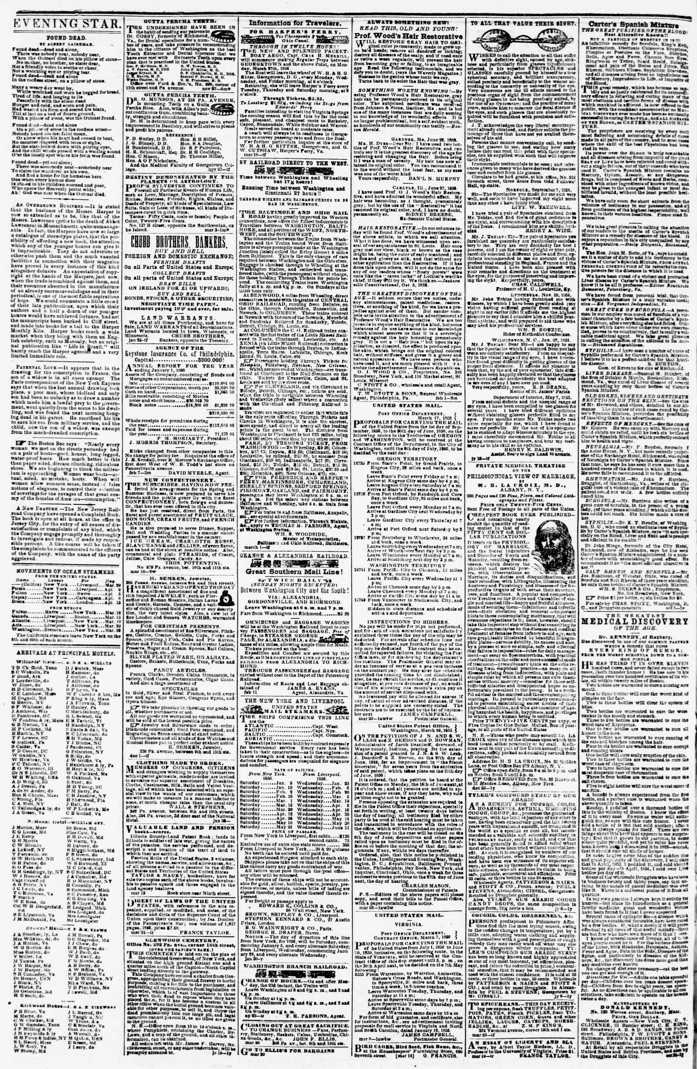 Newspaper of Evening Star dated March 29, 1856 Page 4